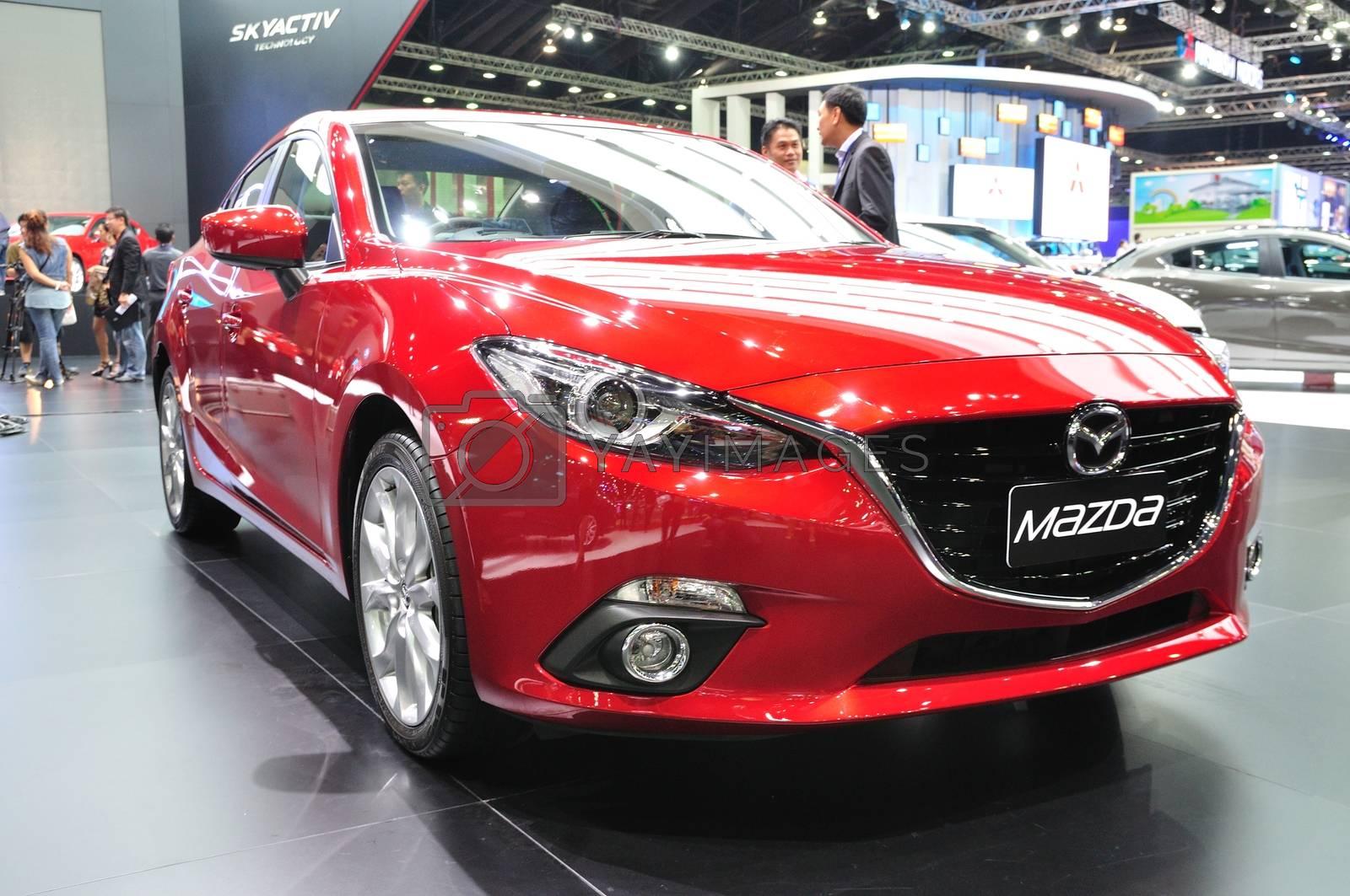 NONTHABURI - March 25: New Mazda 3 on display at The 35th Bangko by thampapon