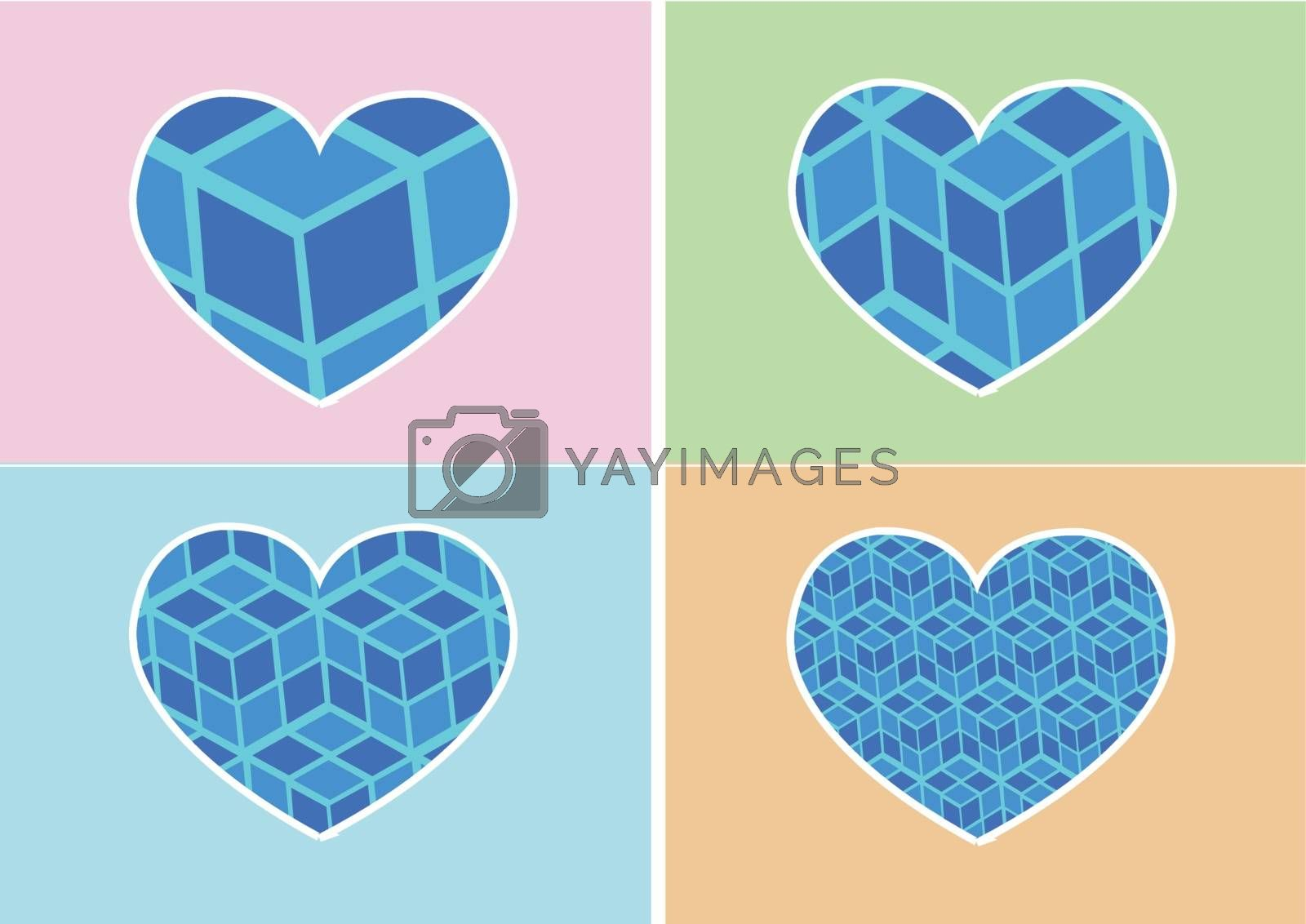 Heart Icon and Hearts symbol lines abstract idea design by kiddaikiddee