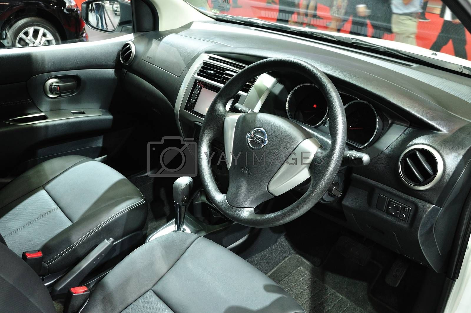 NONTHABURI - MARCH 25: Interior design of Nissan Livina on displ by thampapon
