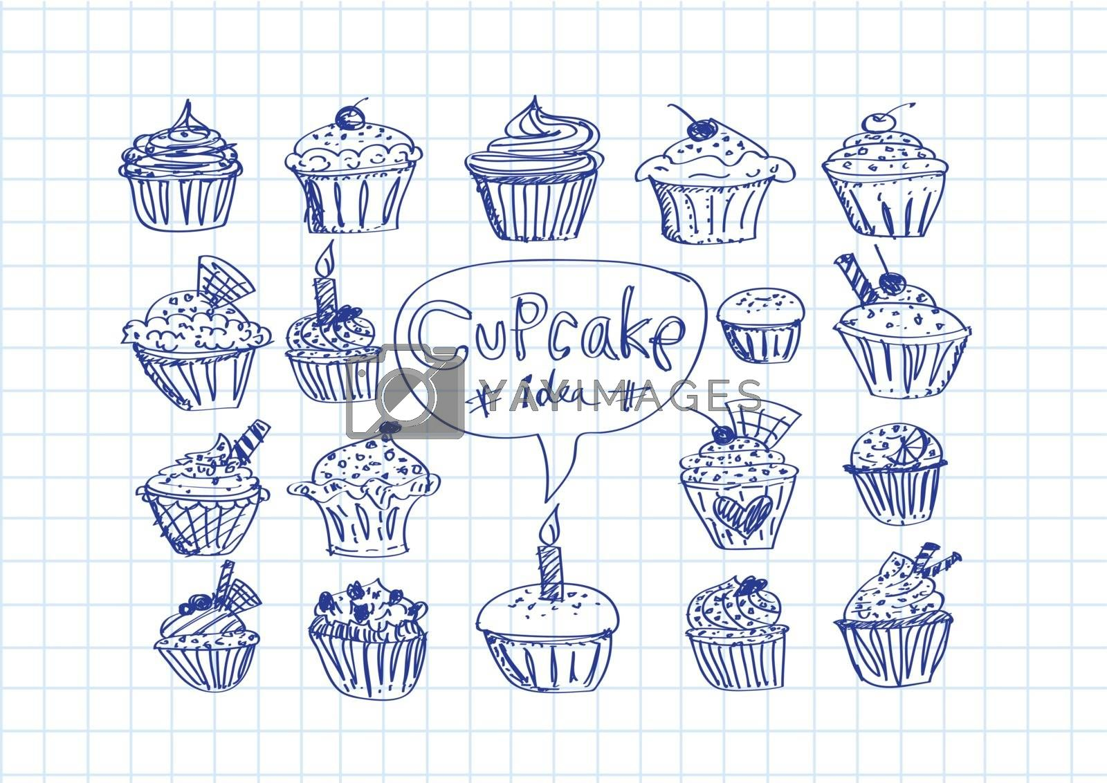 colorful delicious cupcakes  illustration by kiddaikiddee