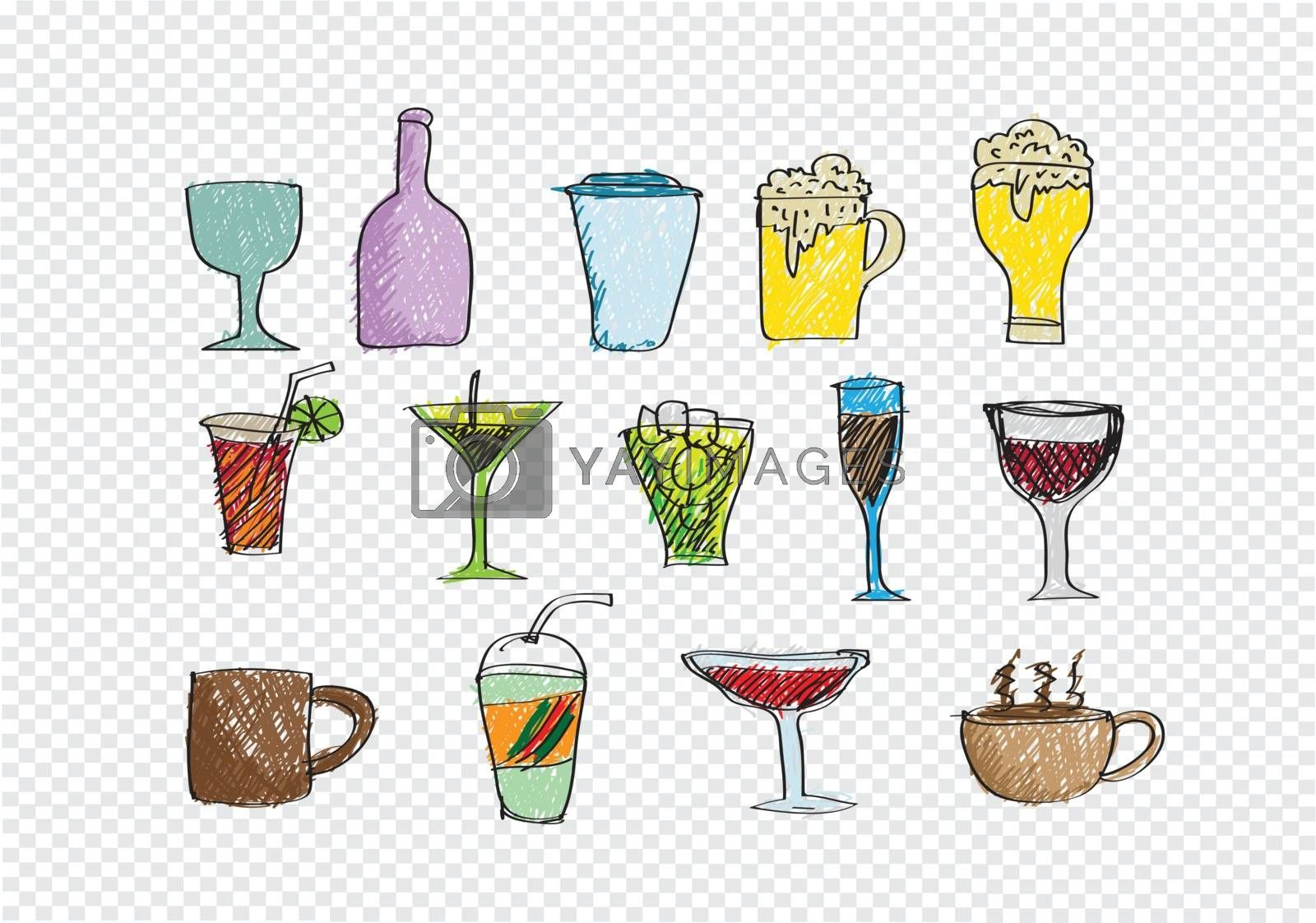 Drink beverage icons set by kiddaikiddee