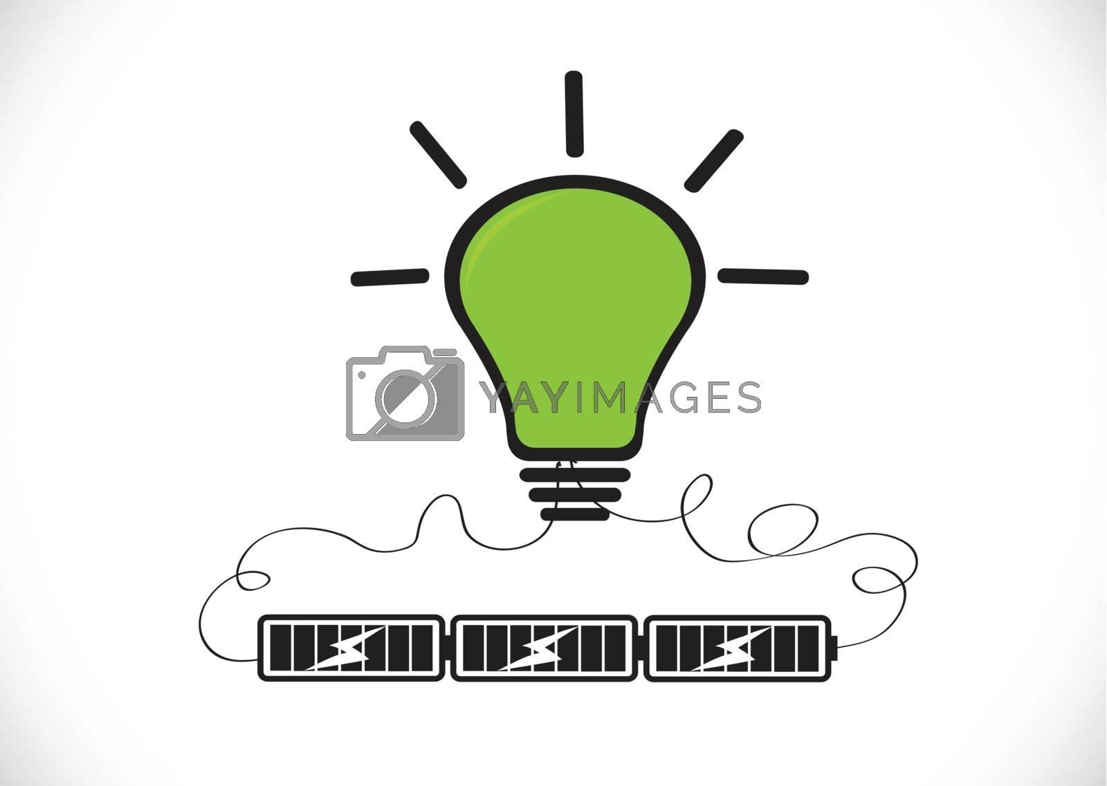 Light bulb Charging Battery Power Idea design by kiddaikiddee