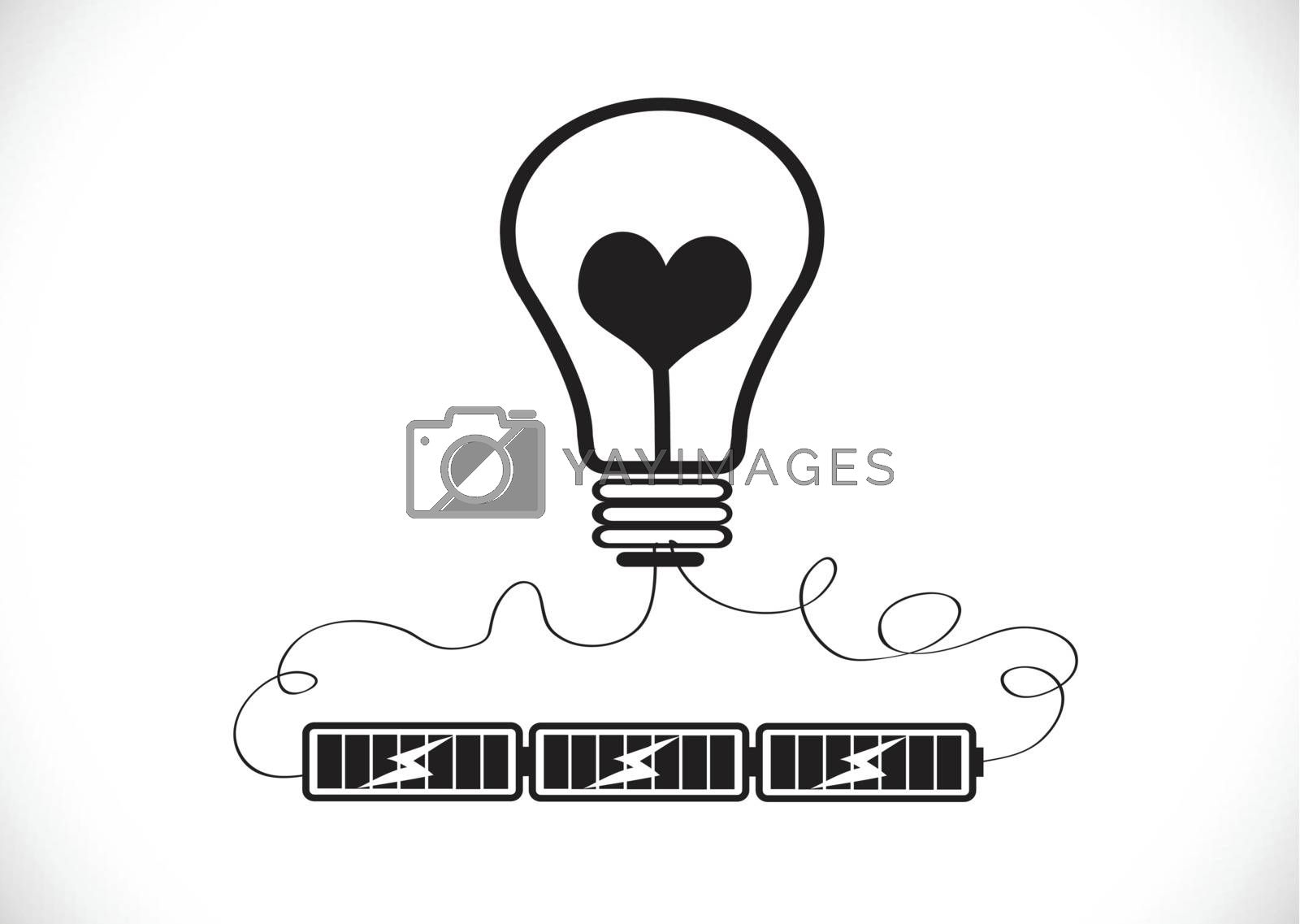 Light bulb Charging Battery Power Idea design by kiddaikiddee