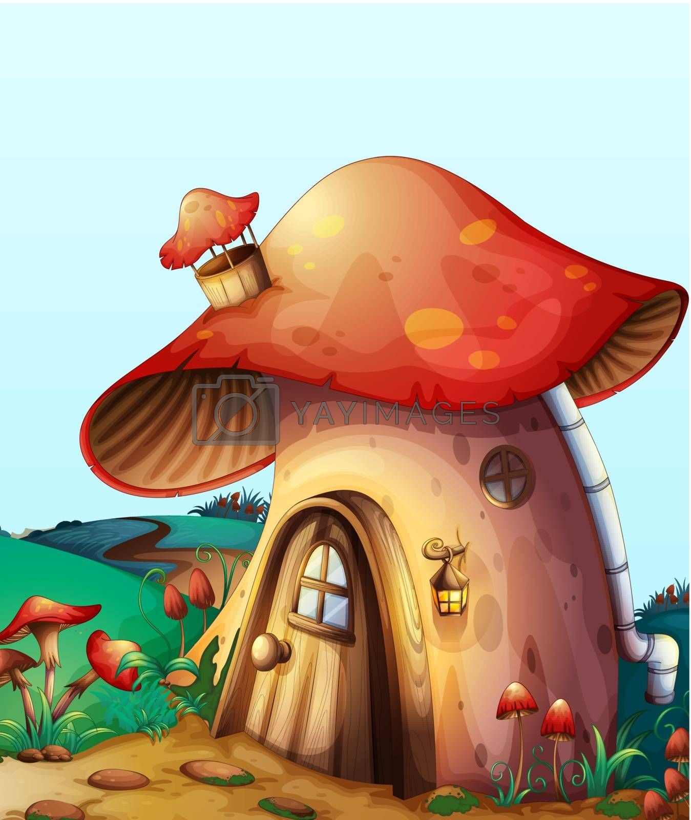 illustration of red mushroom house on a blue background