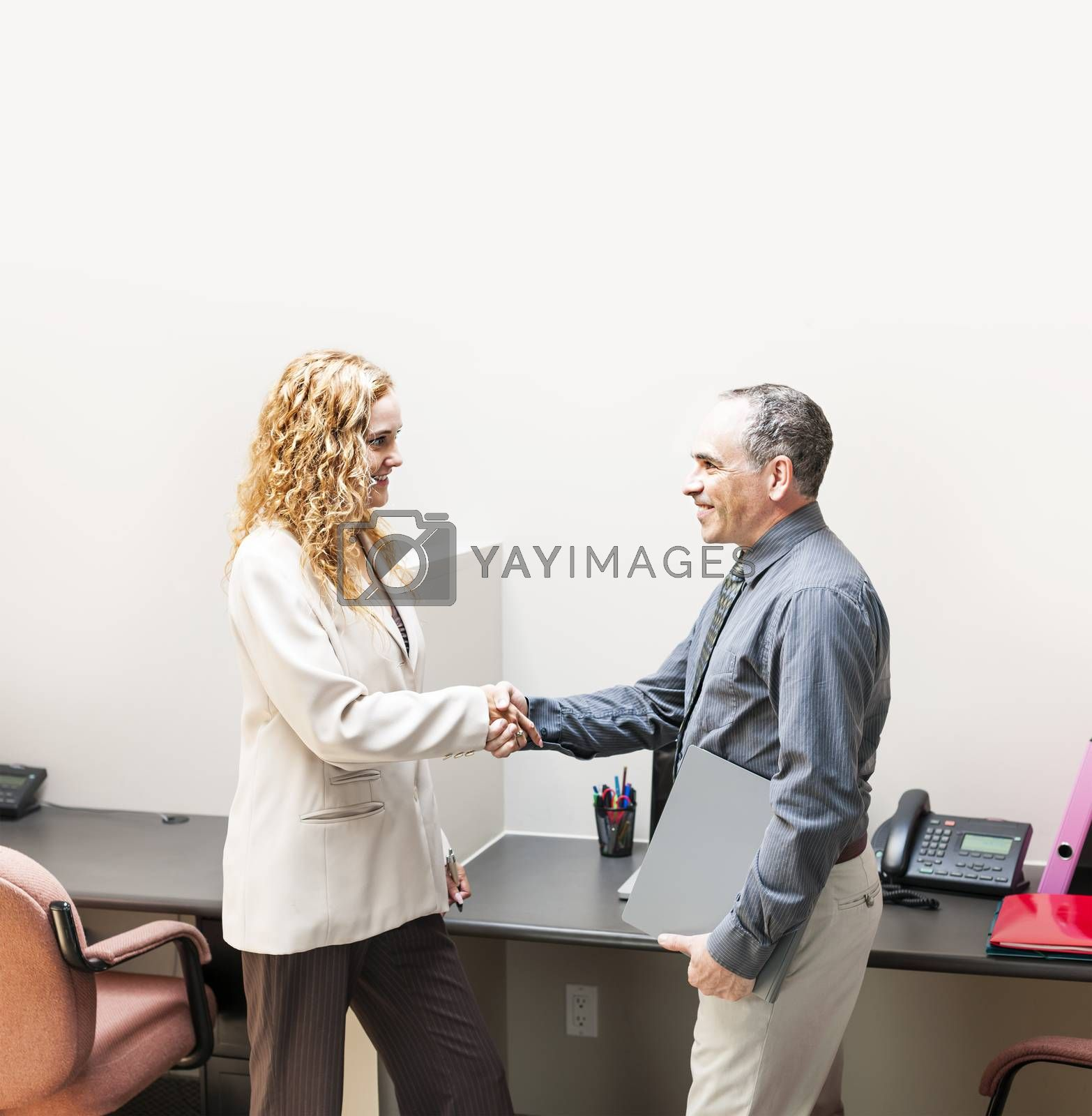 Man and woman meeting in office shaking hands