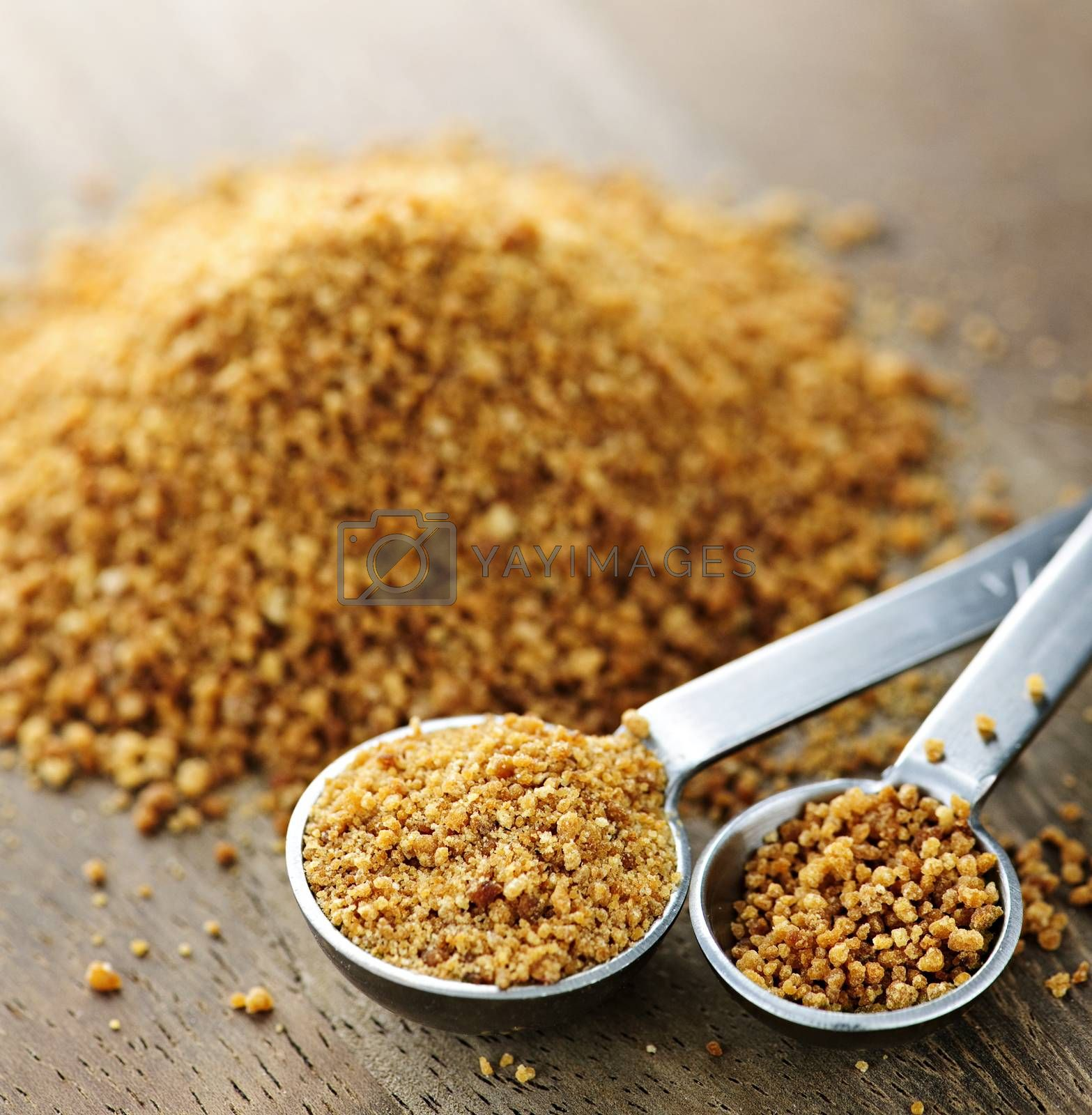 Organic coconut palm sugar in measuring spoons