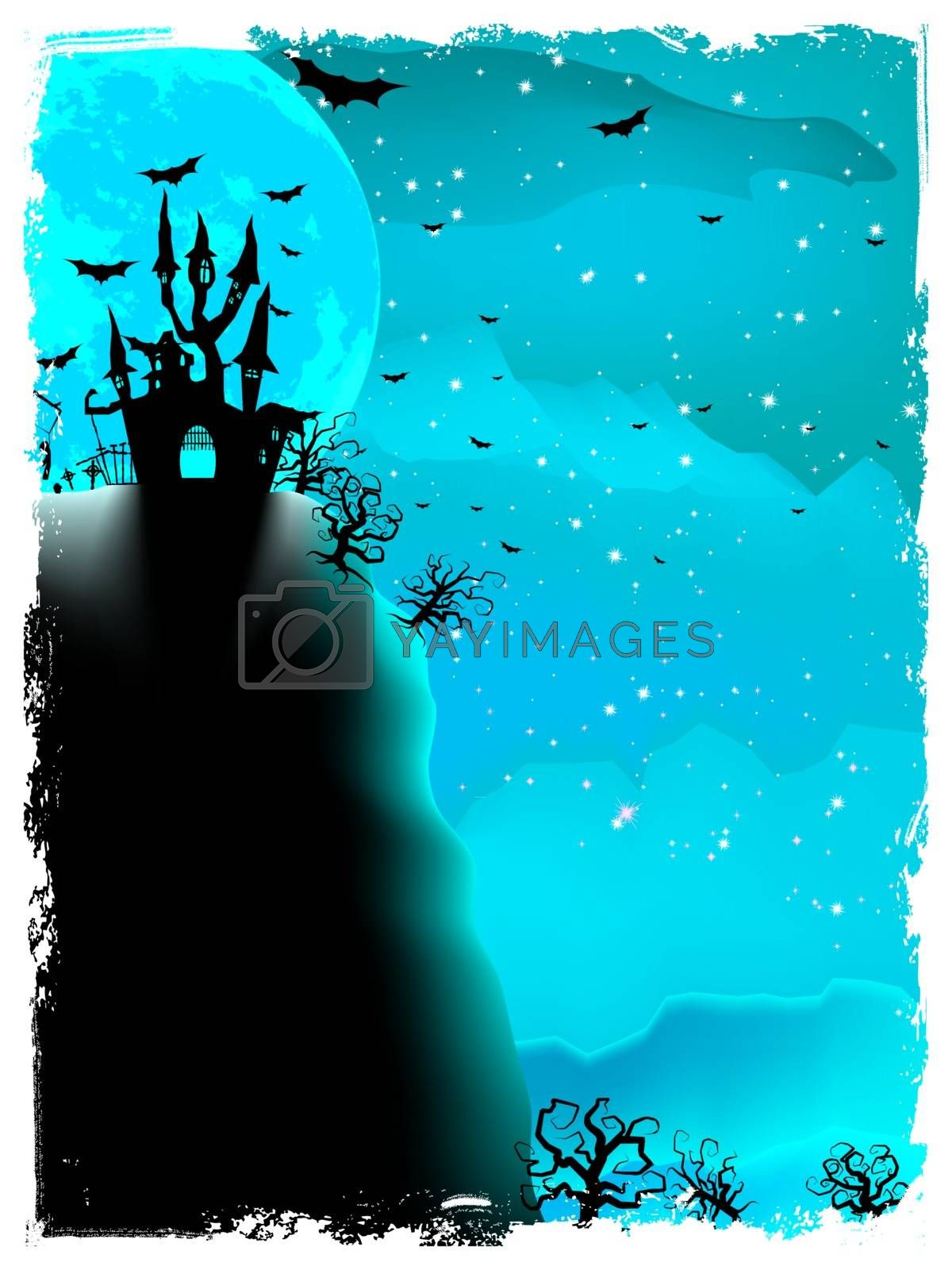 Spooky Halloween composition with horror house and popular holiday attributes. EPS 10 vector file included