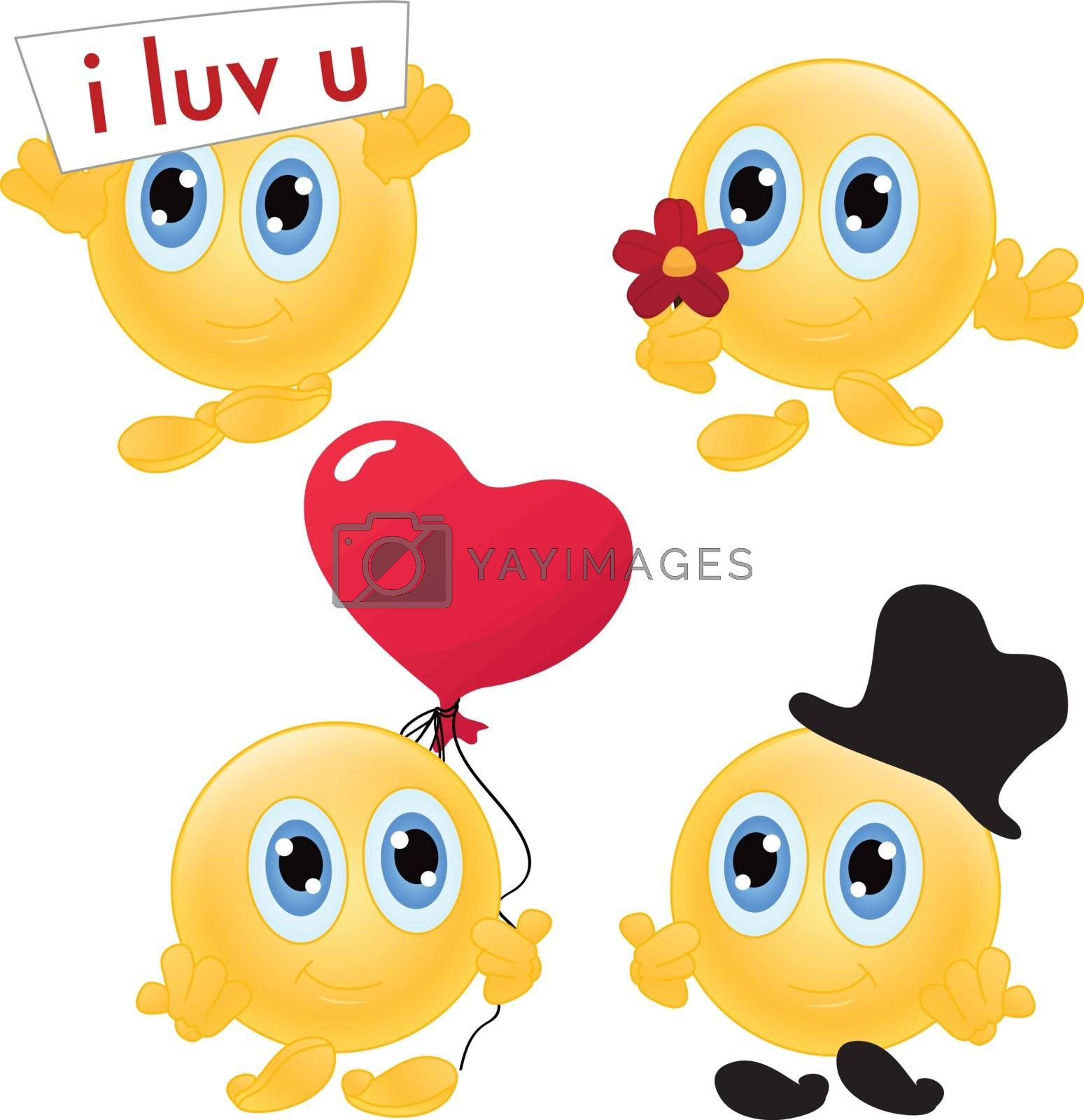 four emoticon character collection for wedding, and romance