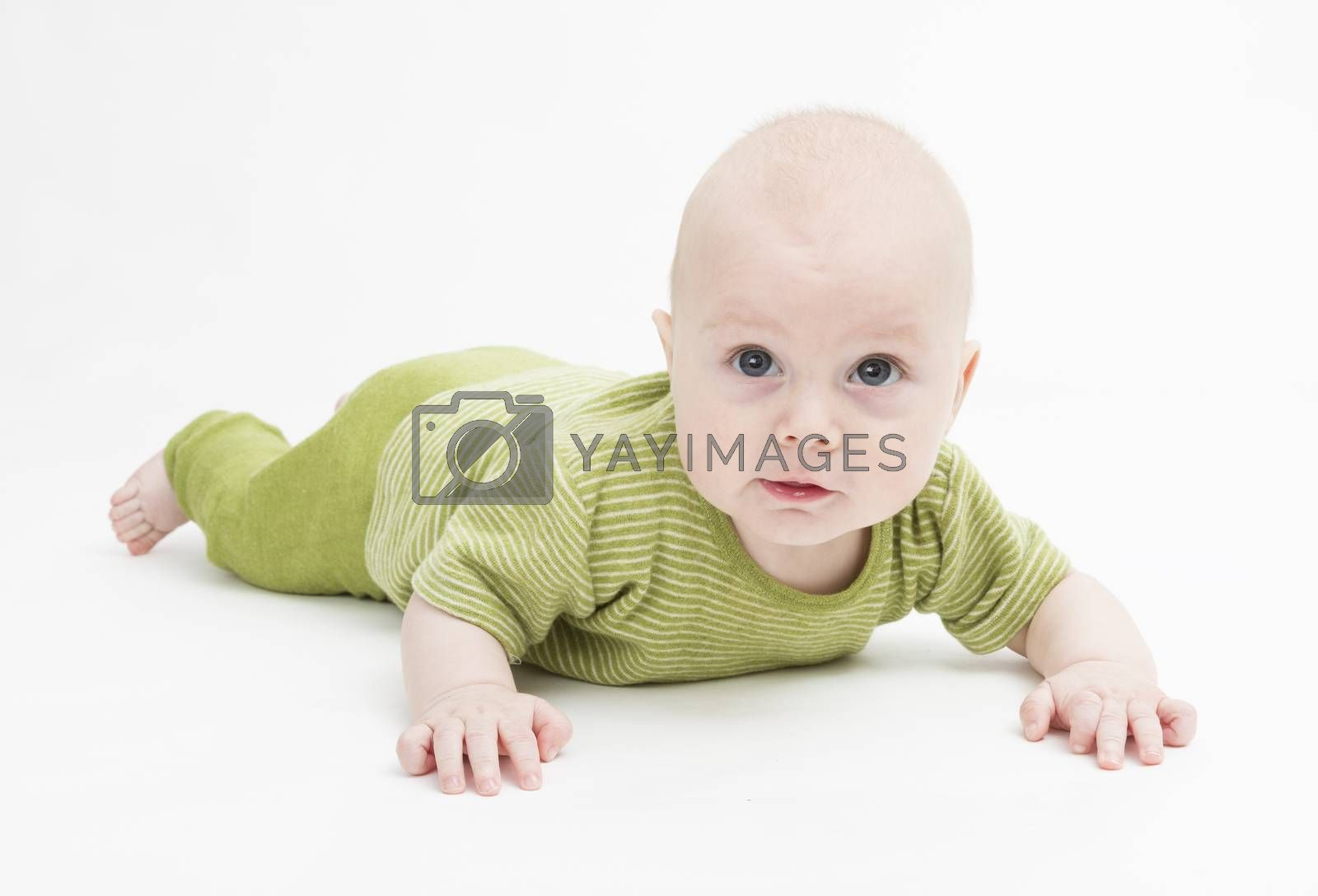 crawling baby in green romper suit isolated on white background. studio shot