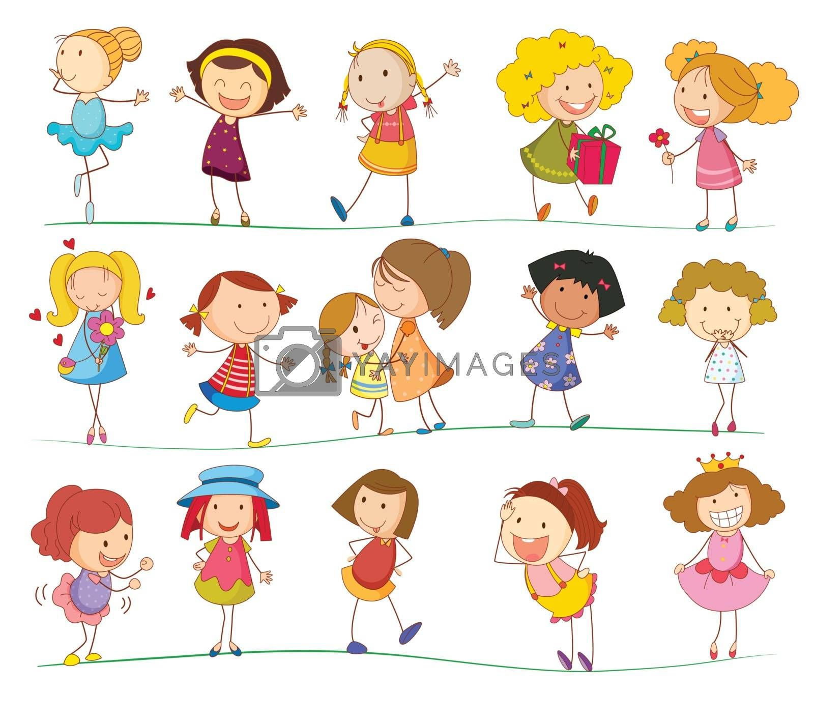 Illustration of a group of mixed kids