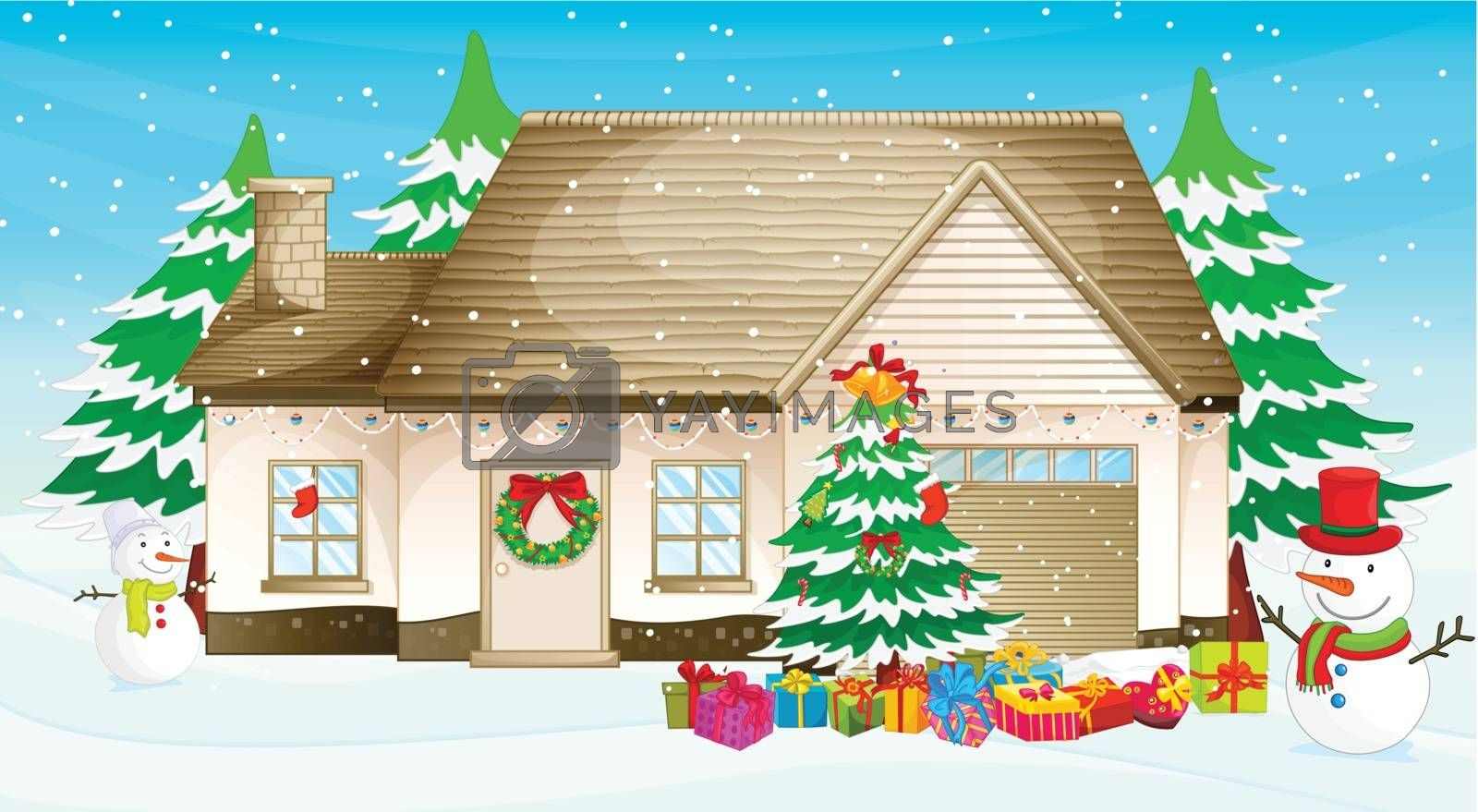 Illustration of a house at christmas