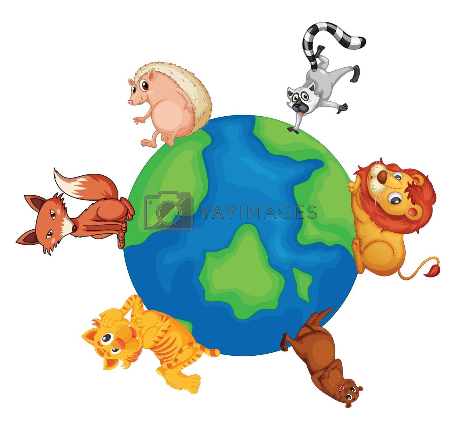 illustrtion of various animals on earth on white background