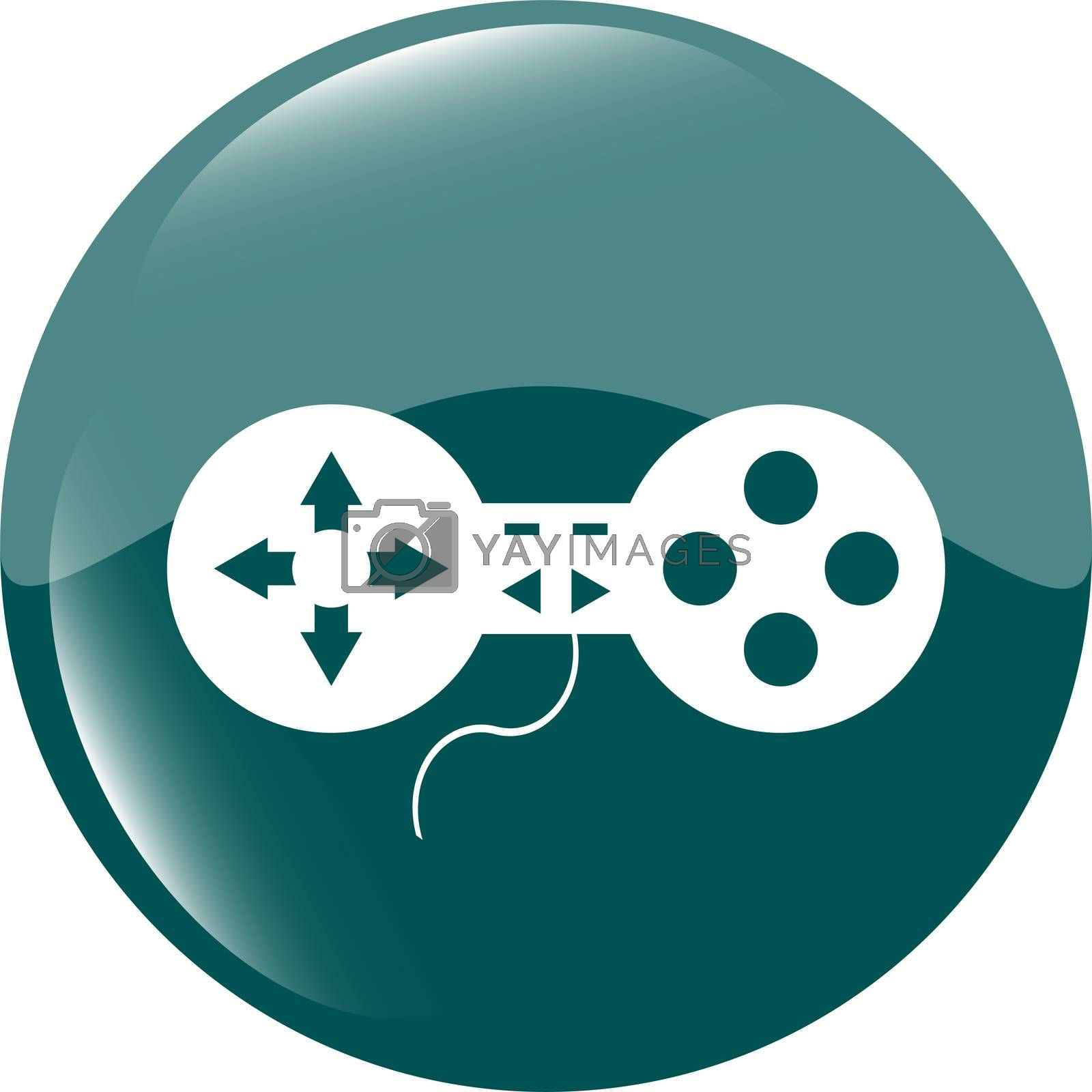 Royalty free image of game controller web icon, button isolated on white by fotoscool