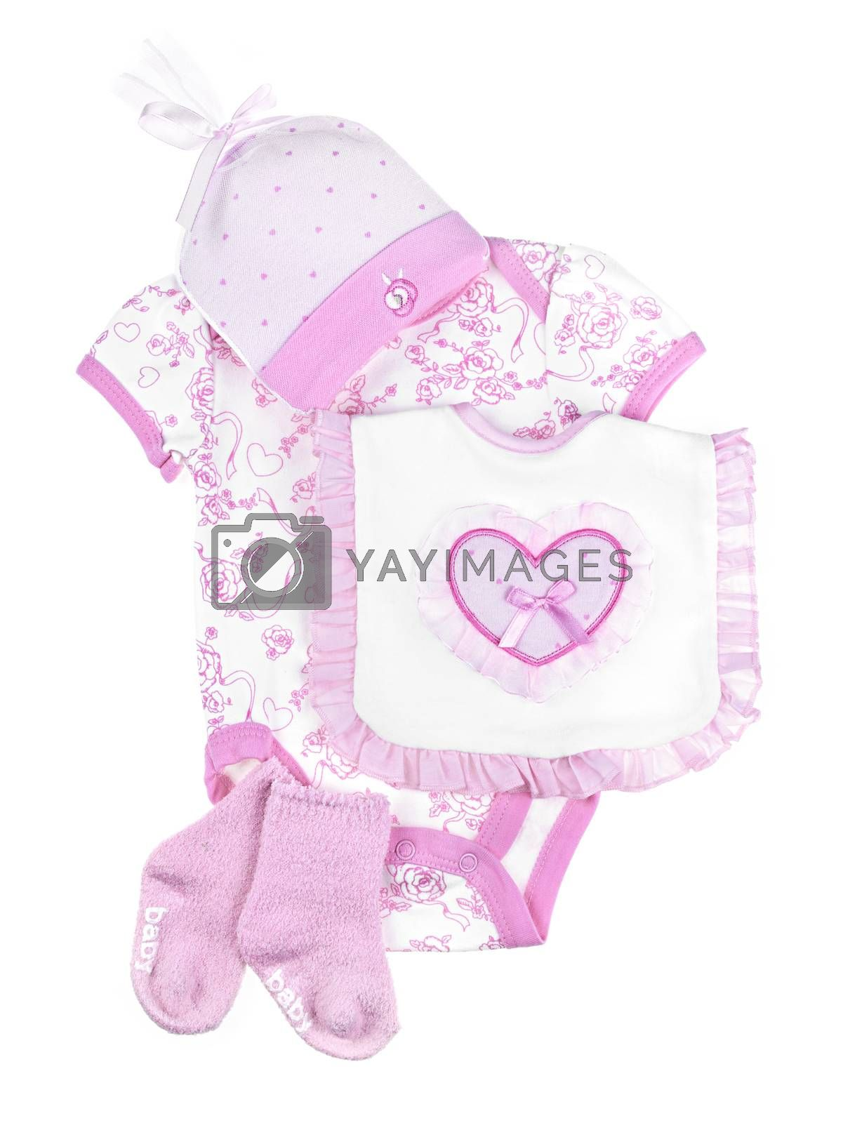 Pink infant girl clothing for baby shower isolated on white background