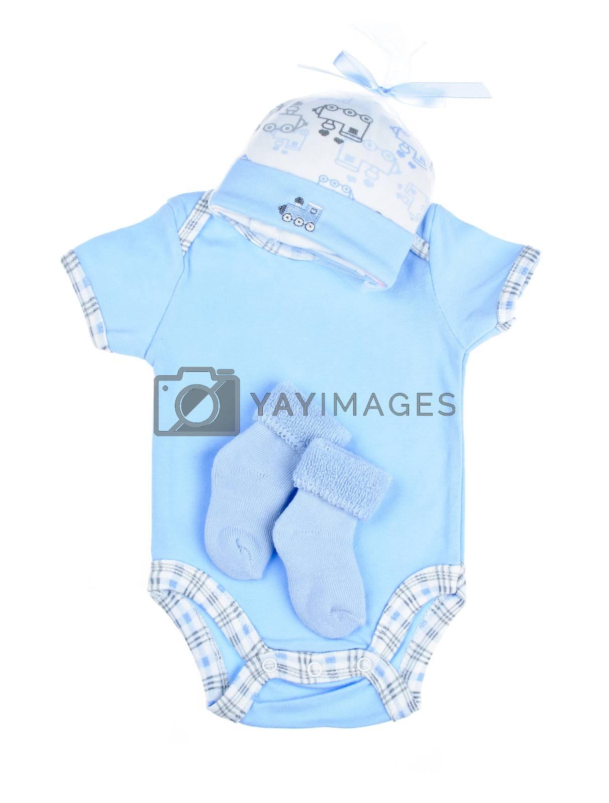 Blue infant boy clothing for baby shower isolated on white background