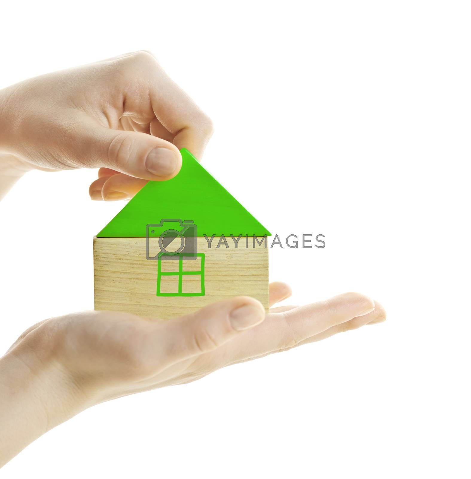 Hand holding green wooden block house isolated on white