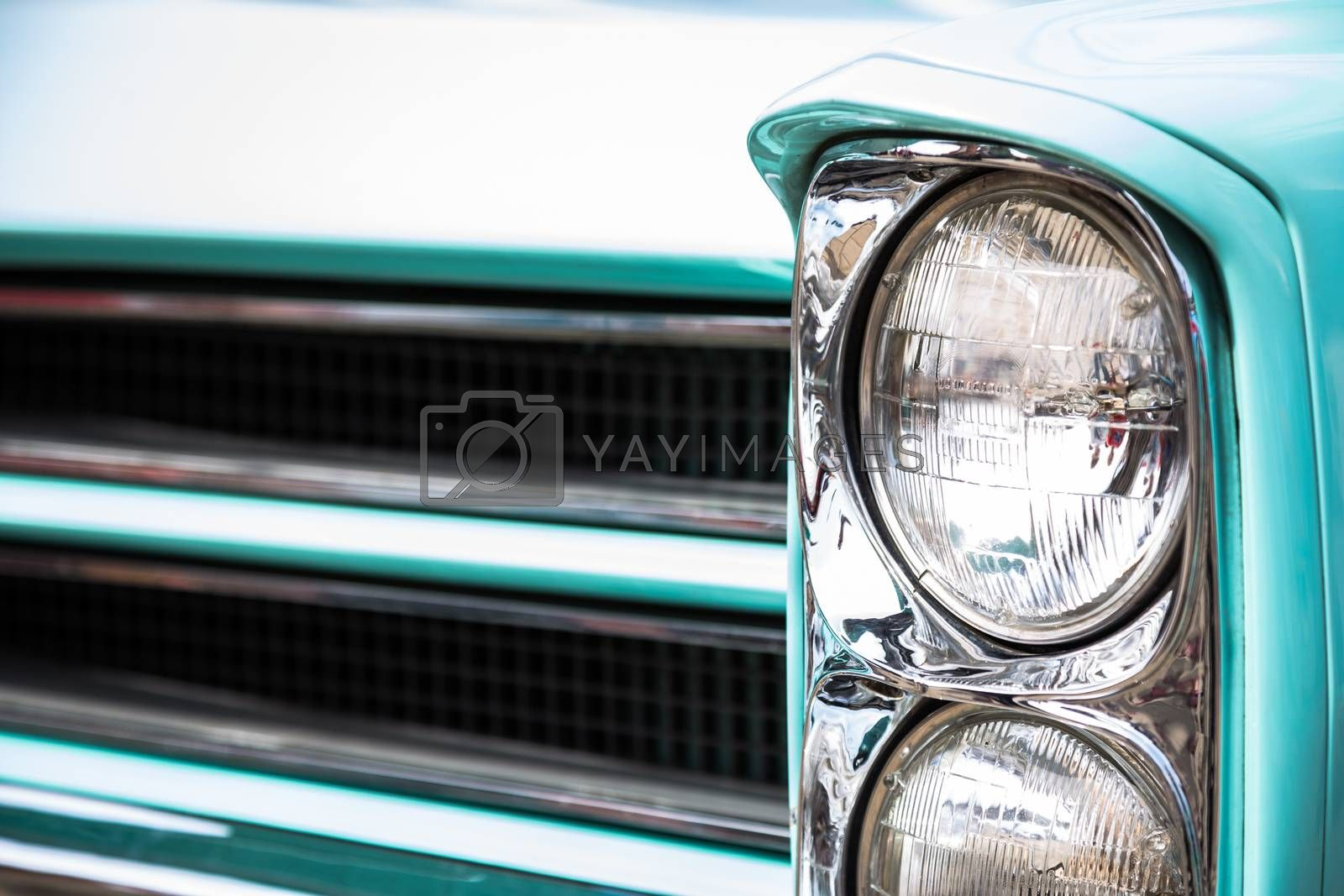Front lights of an old vintage automobile