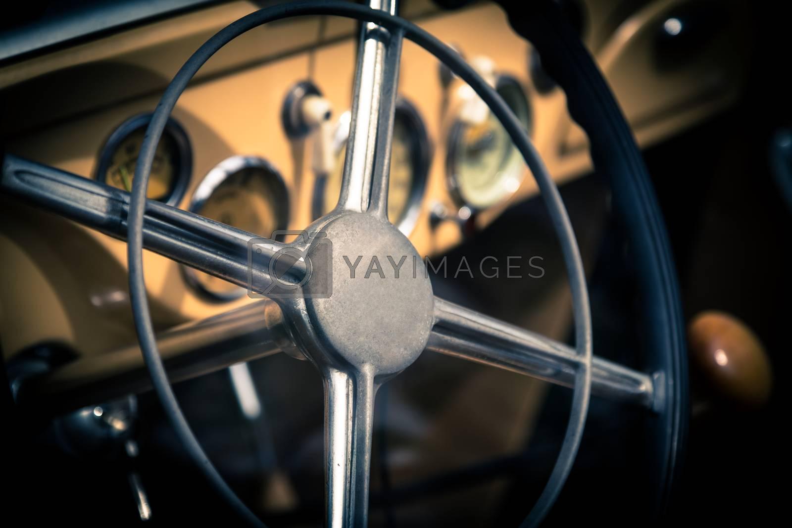 Retro interior of old automobile