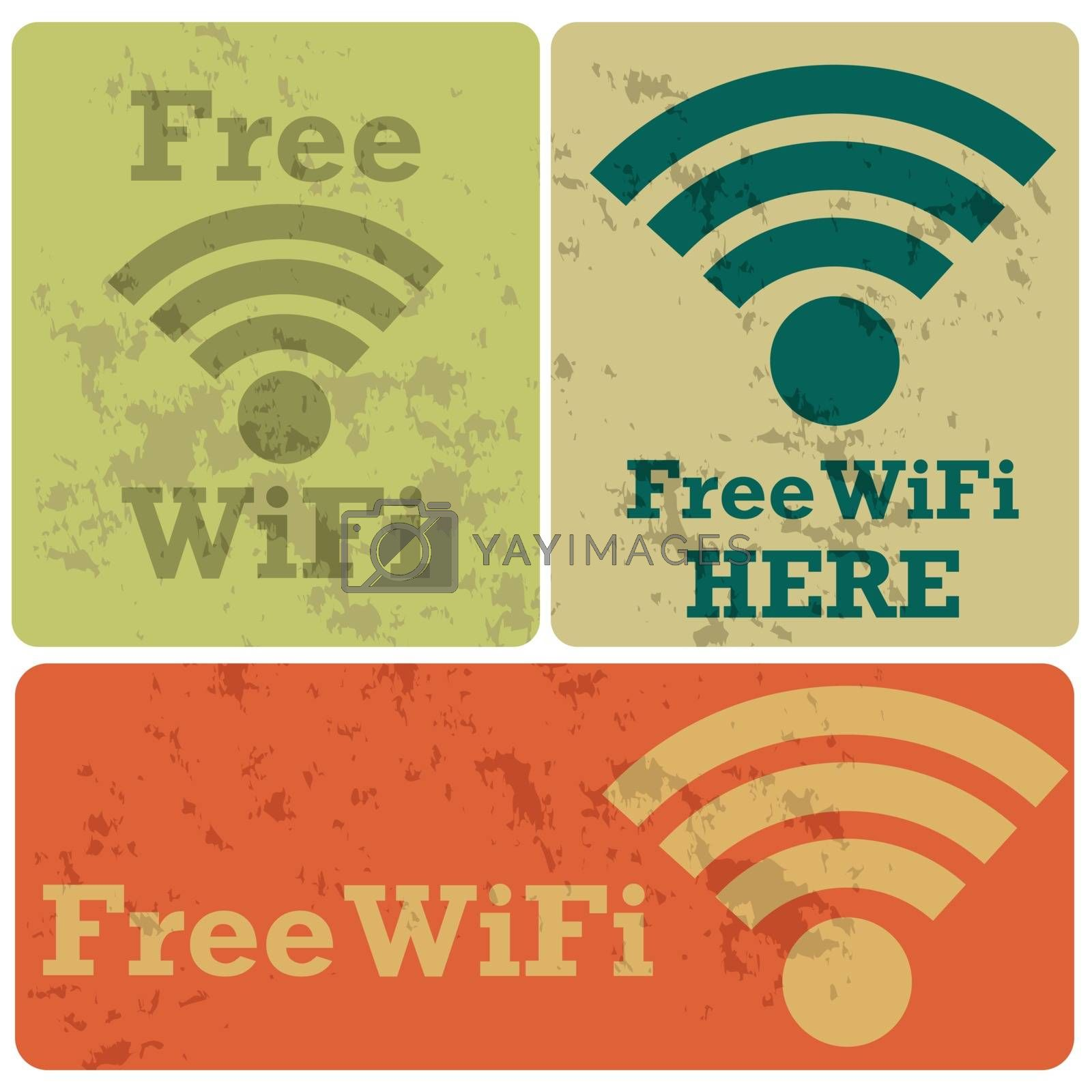 Cartoon illustration showing stickers with the message Free WiFi