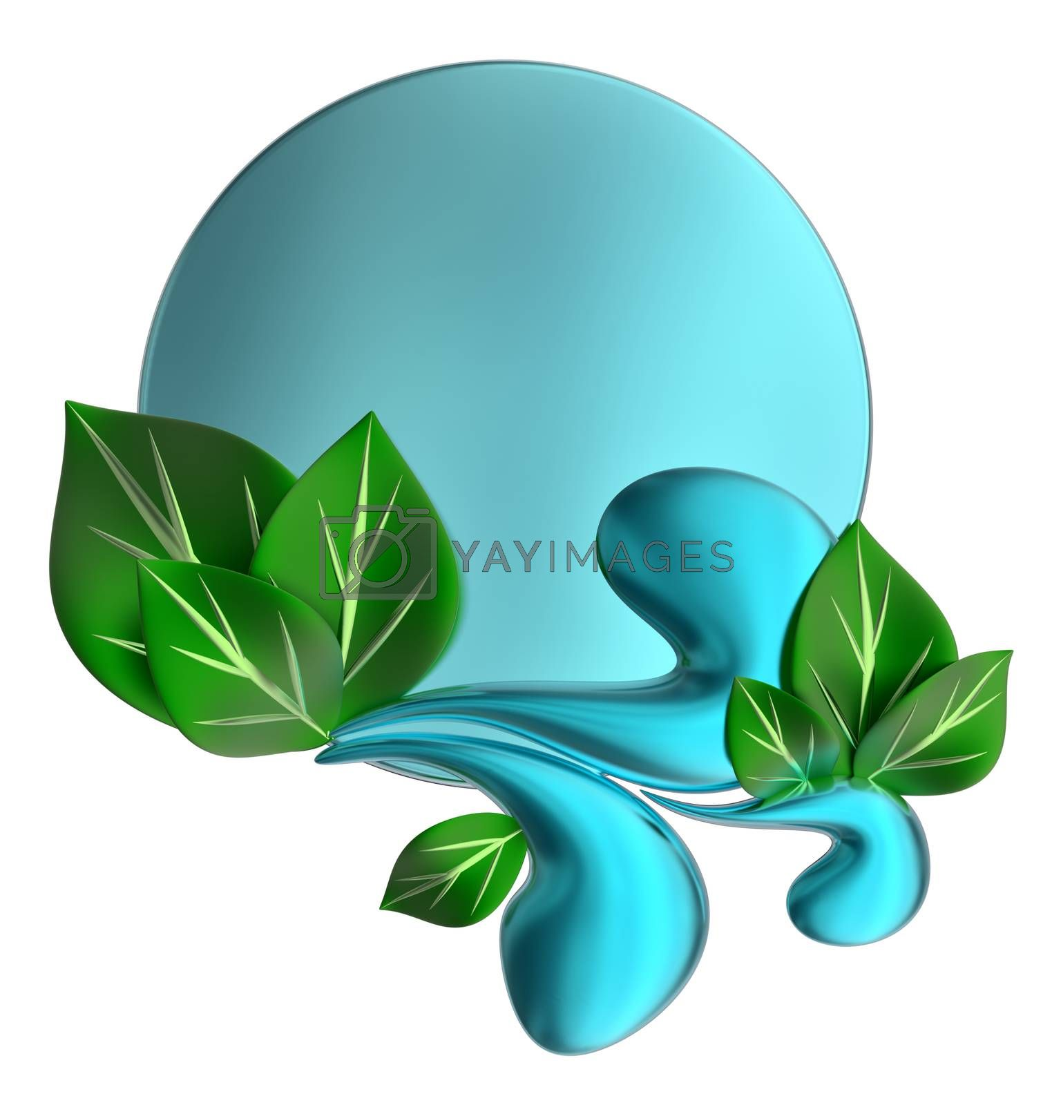Green and blue form with water drops and leafs