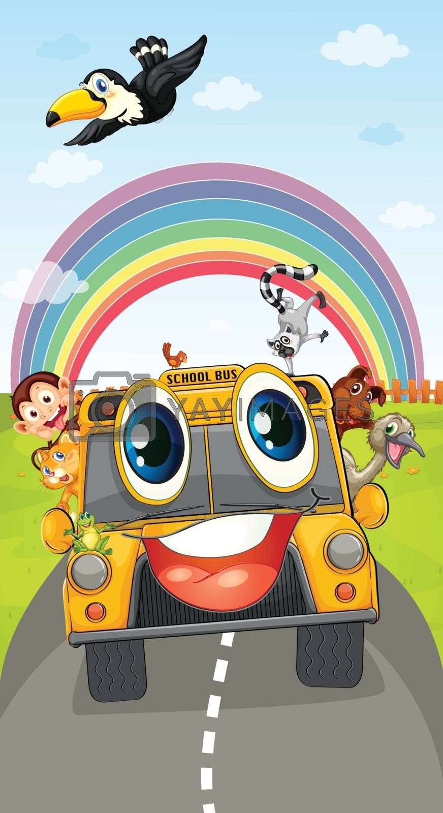 illustration of various animals in school bus