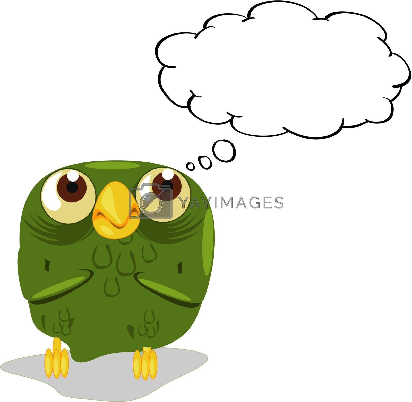 Illlustration of an owl thinking