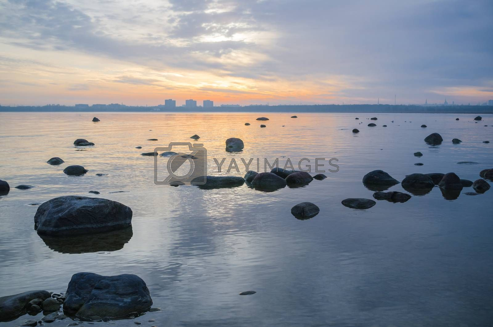 Beautiful sunrise on the sea. Views of Tallinn. by breeze09