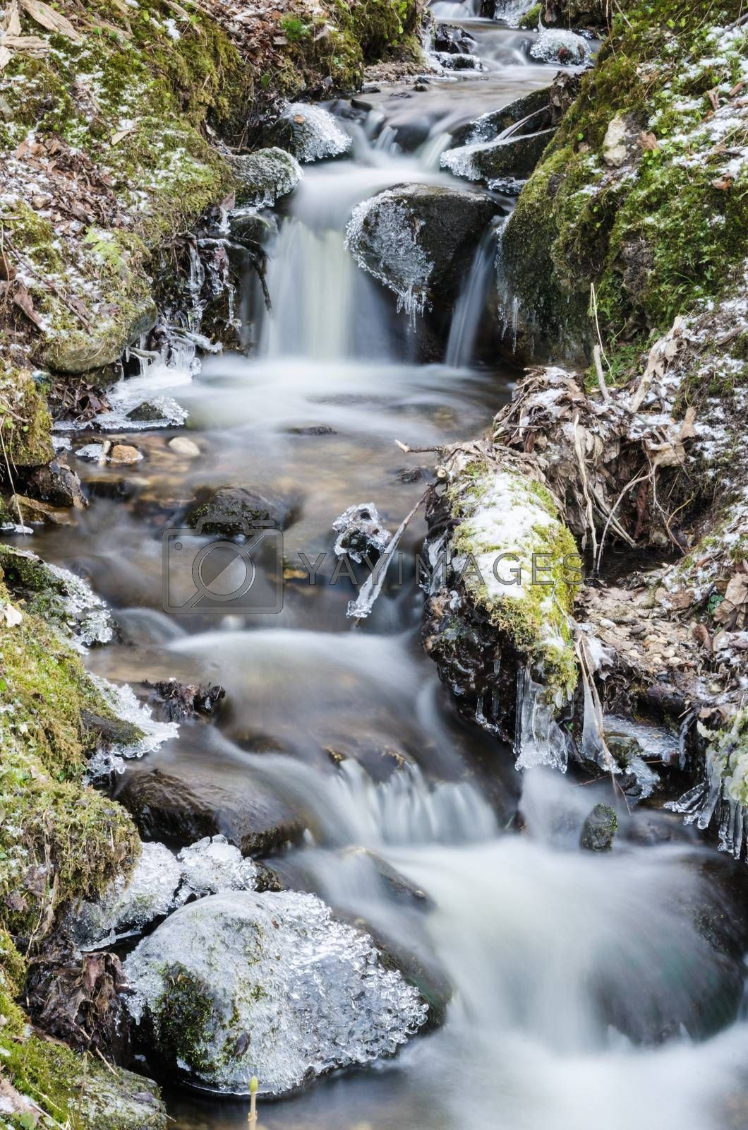 Royalty free image of Small creek with a waterfall close up by breeze09