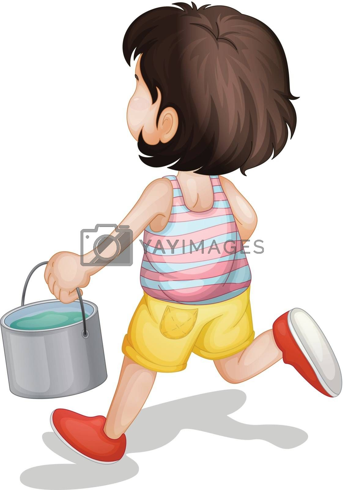 kid carrying a bucket of paint