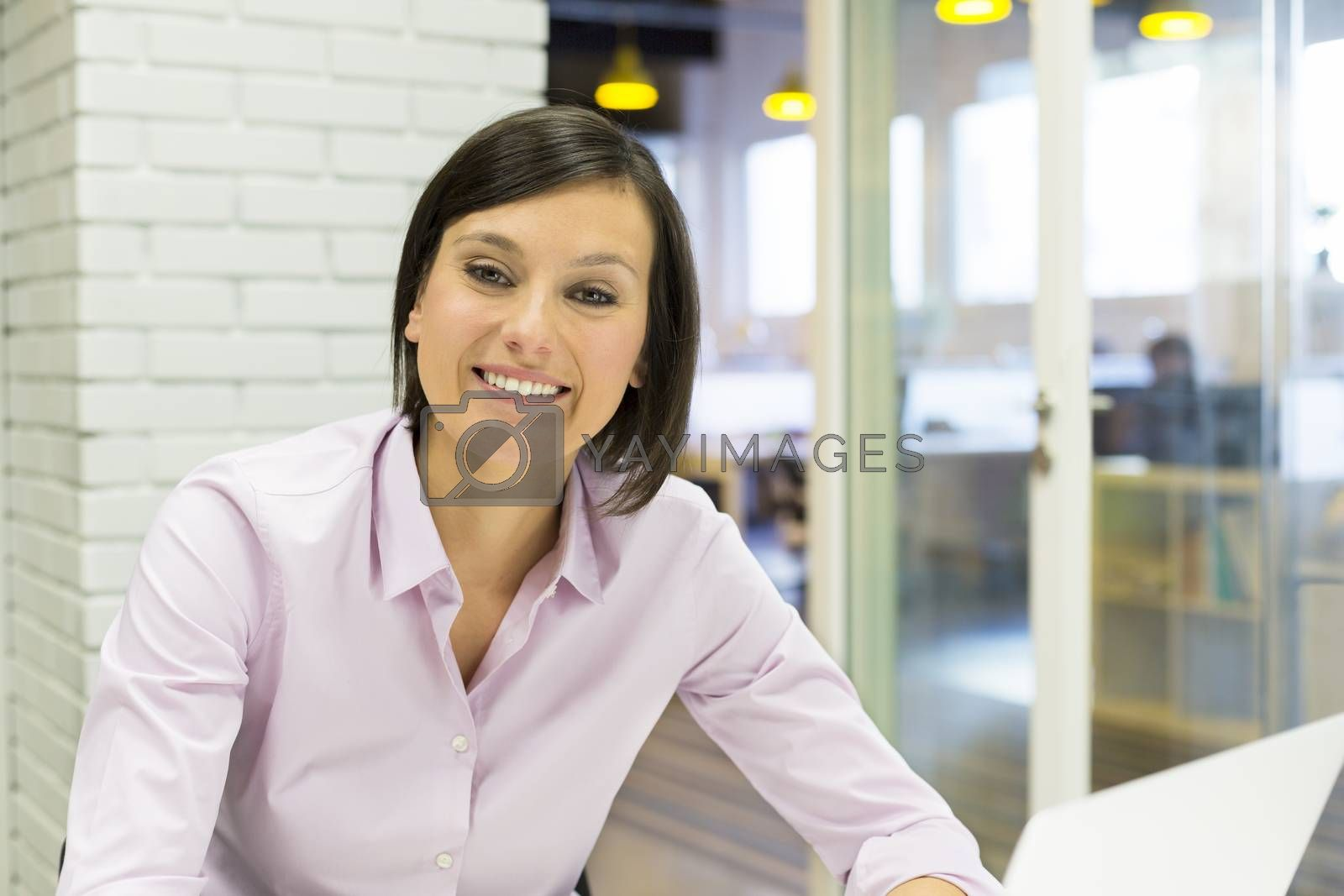Portrait Female  young business happy computer desk