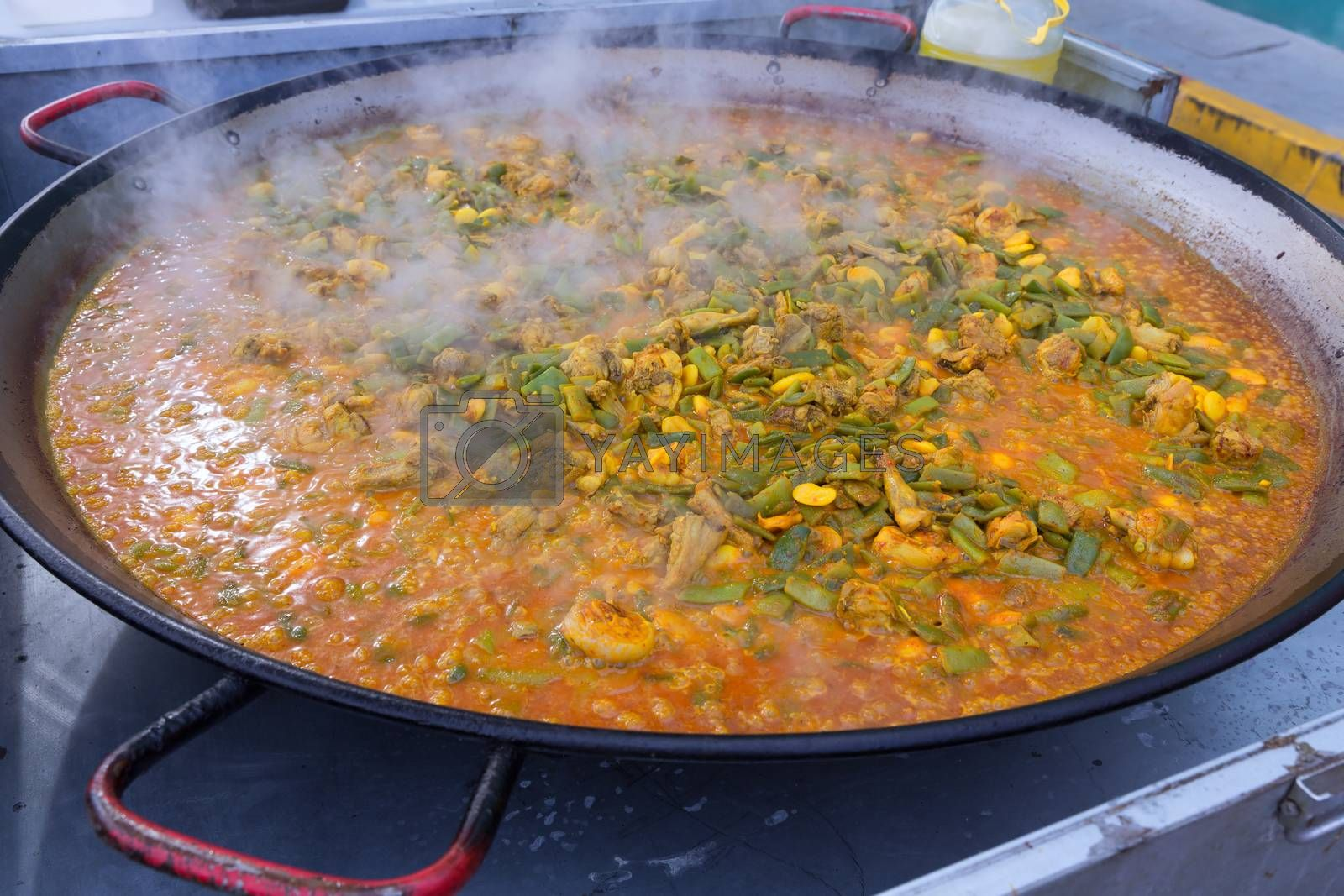 Cooking paella typical from Valencia Spain recipe with rice beans chicken and good hand