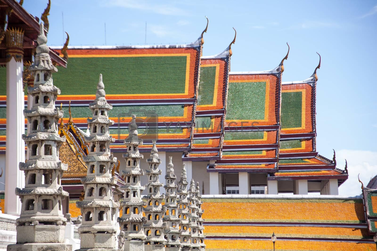 Thai temple art and design elegance. Religious buildings, Thailand.