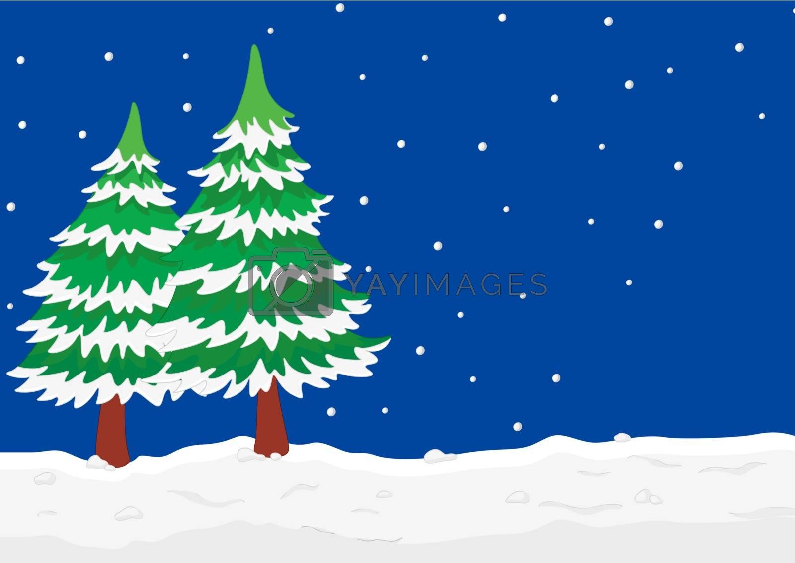 Illustration of a winter scene