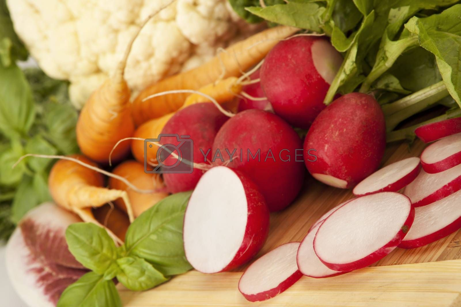 Organic vegetable carrots, cut radish, salad.