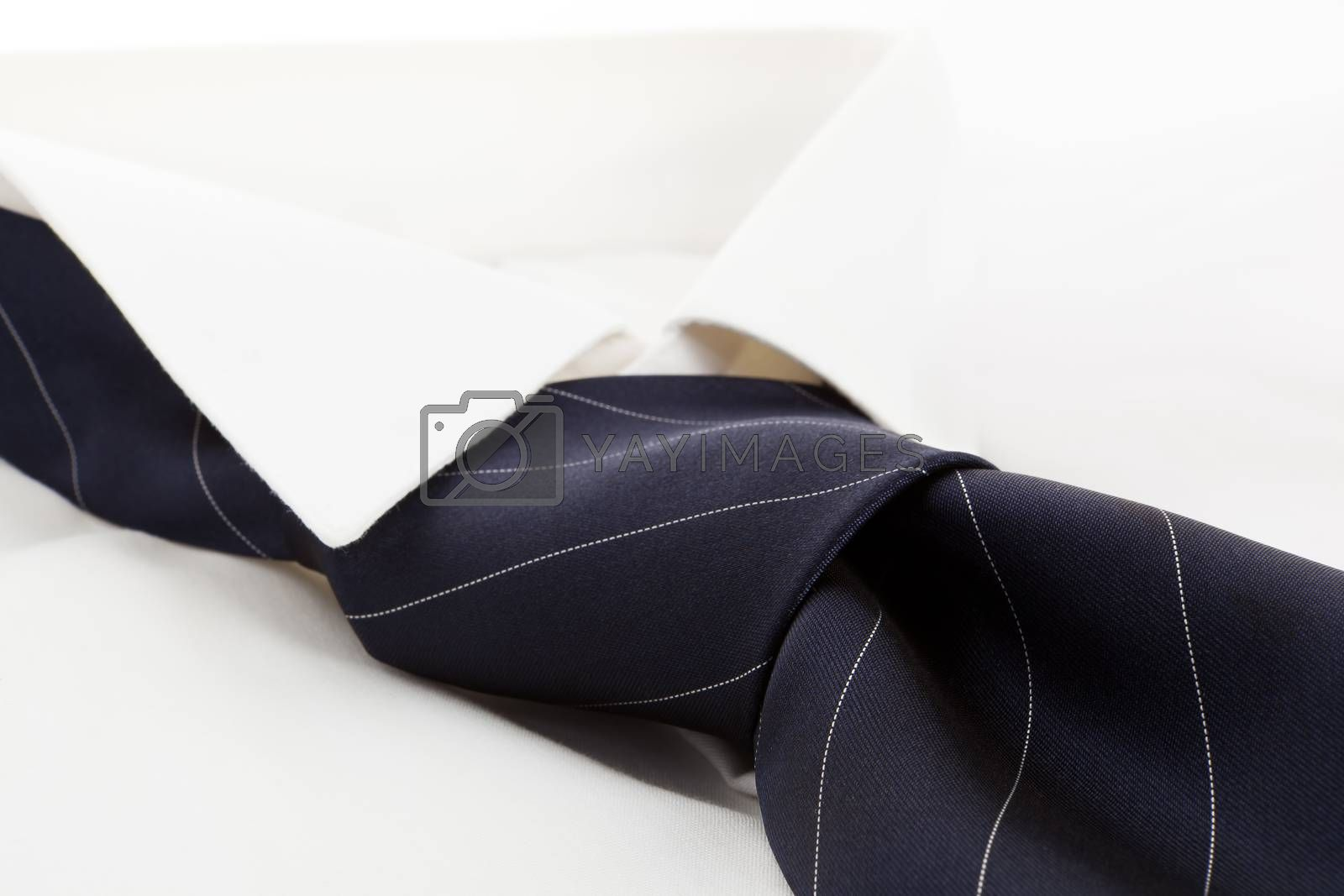 White dress shirt with blue tie. Modern simple business concept.