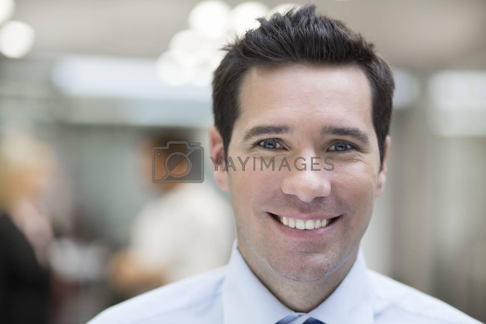 Woman man smiling business team desk