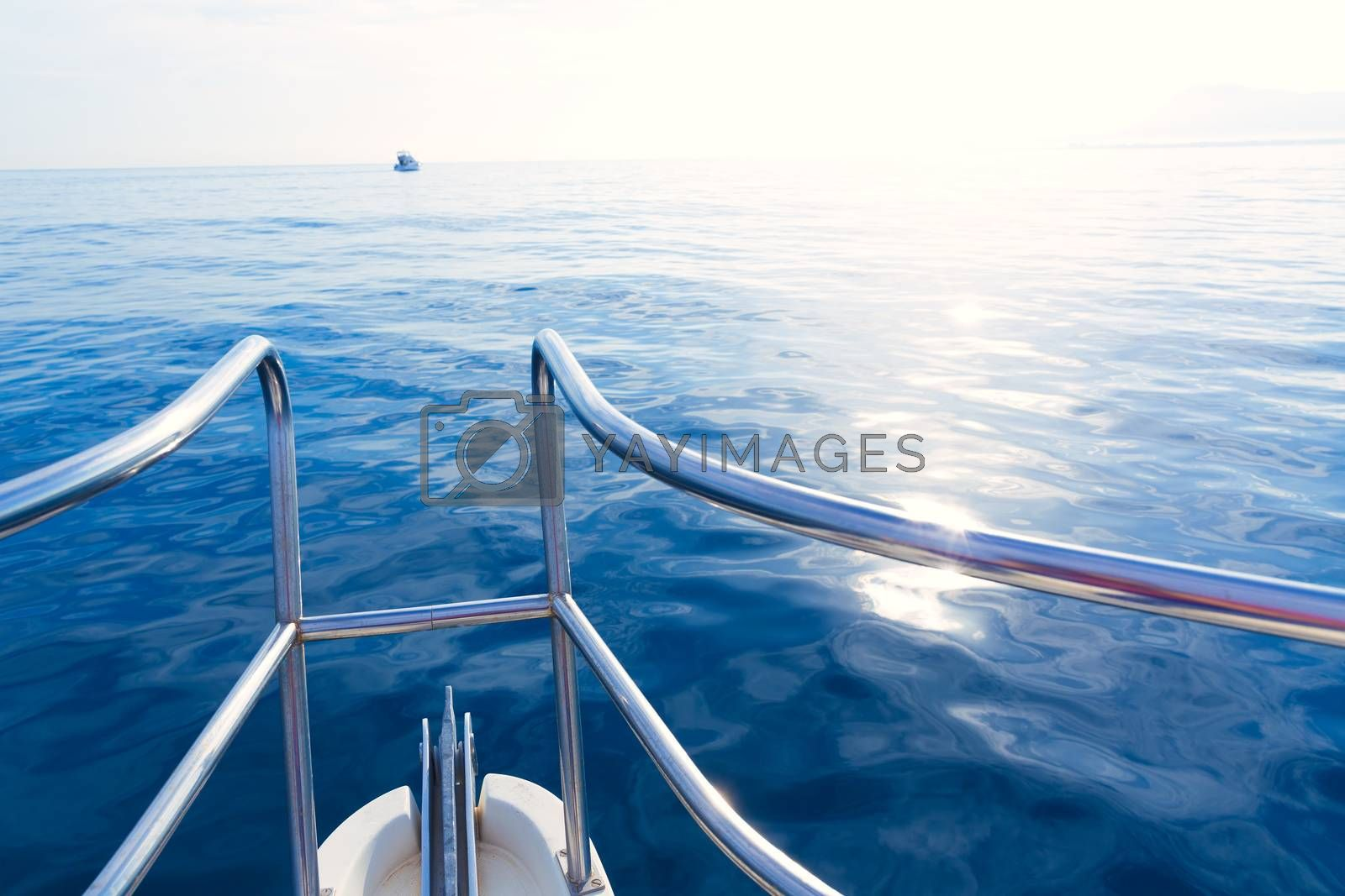 Boat bow sailing in blue calm sea ocean at blue Mediterranean