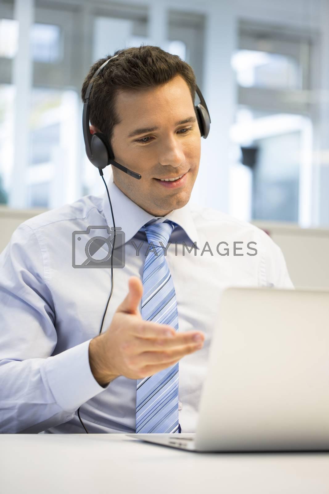 Male business talk computer laptop
