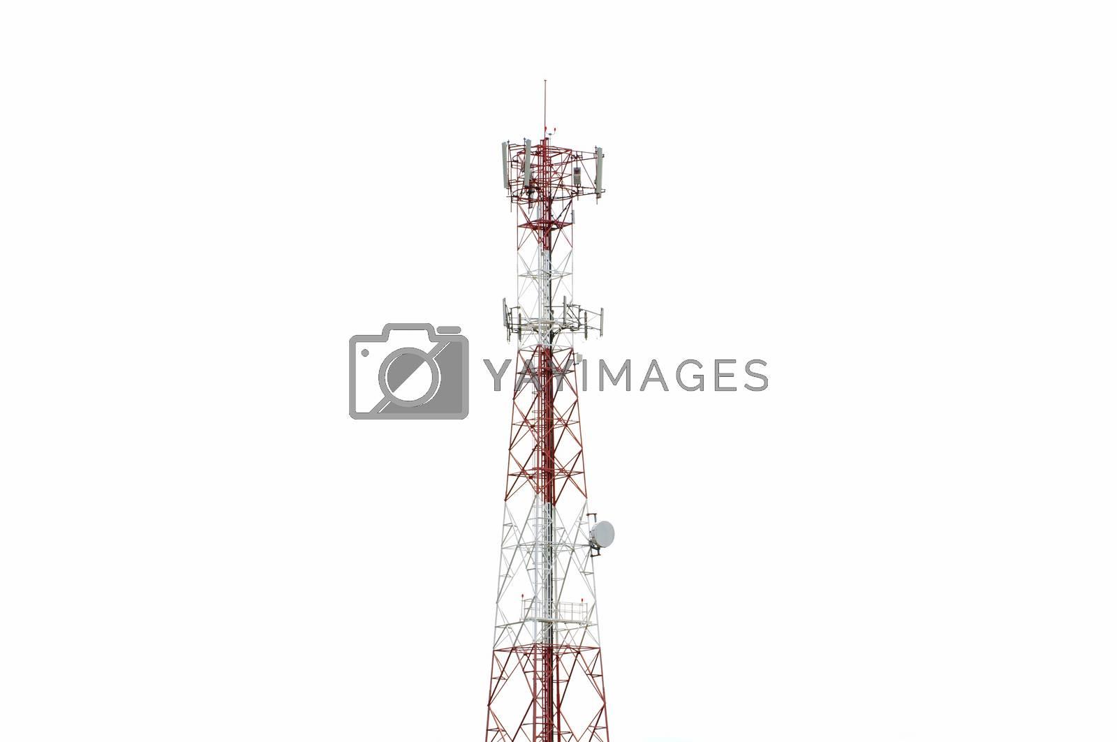 Communication Pole Signal Phone on white background