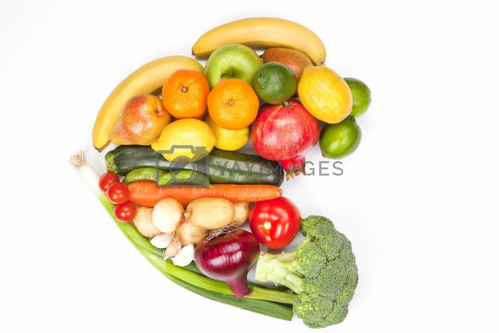 Fruit and vegetable heart isolated. by eskymaks