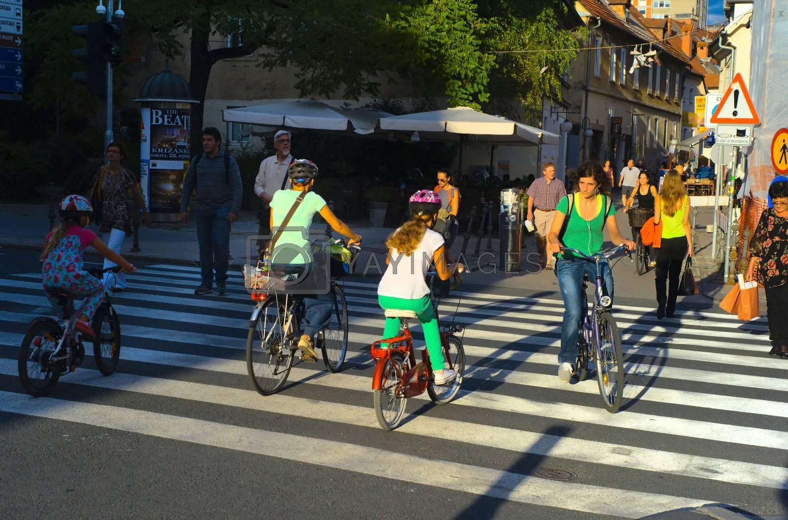 Royalty free image of People on the streets of Ljubljana, Slovenia by joyfull