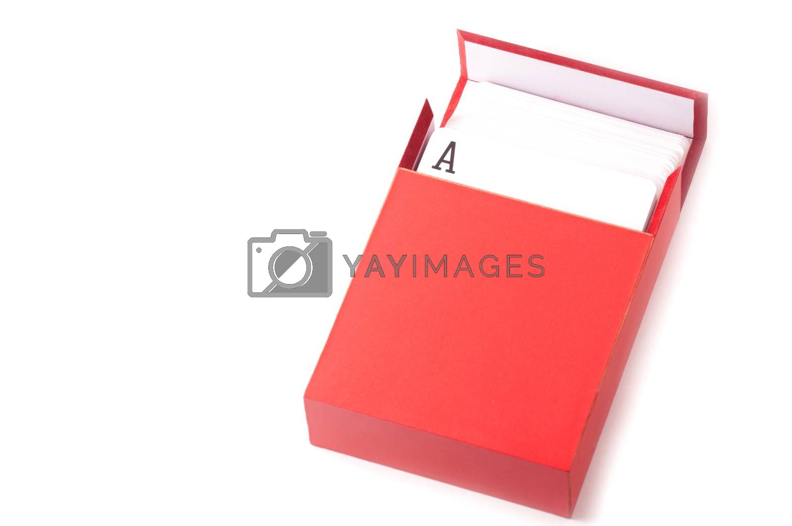 A pack of card inside a red box isolated on white background