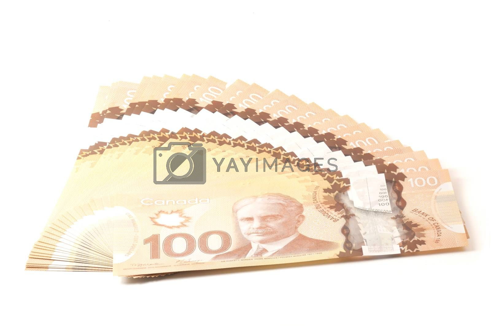 100 dollars Canadian bank notes in polymer