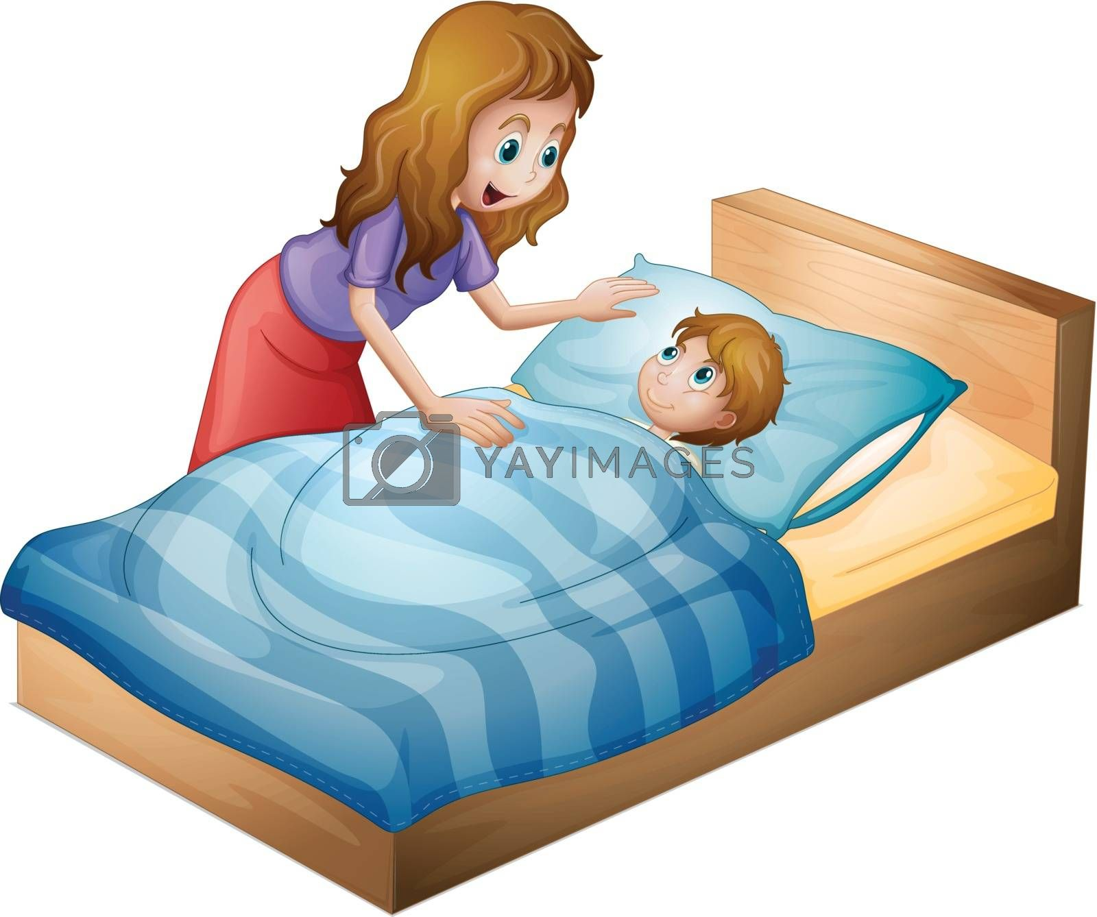 illustration of a mother and a son on a white background