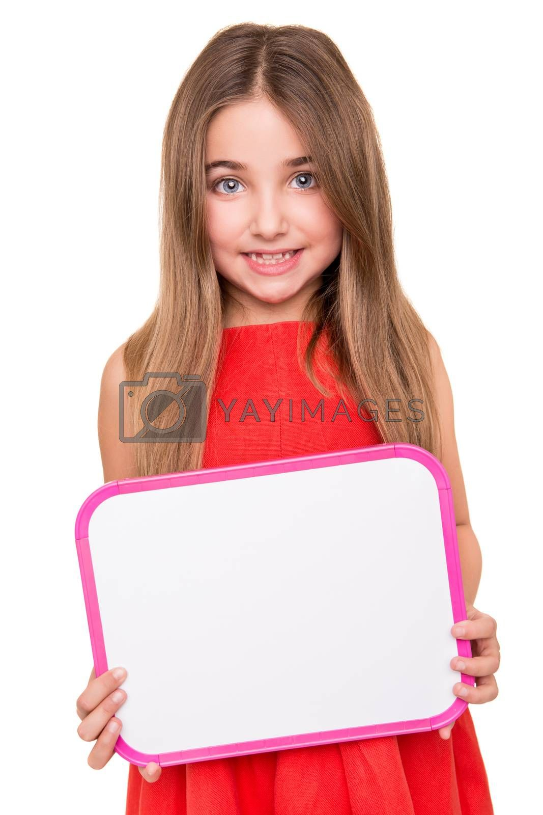 Cute little girl holding a white board