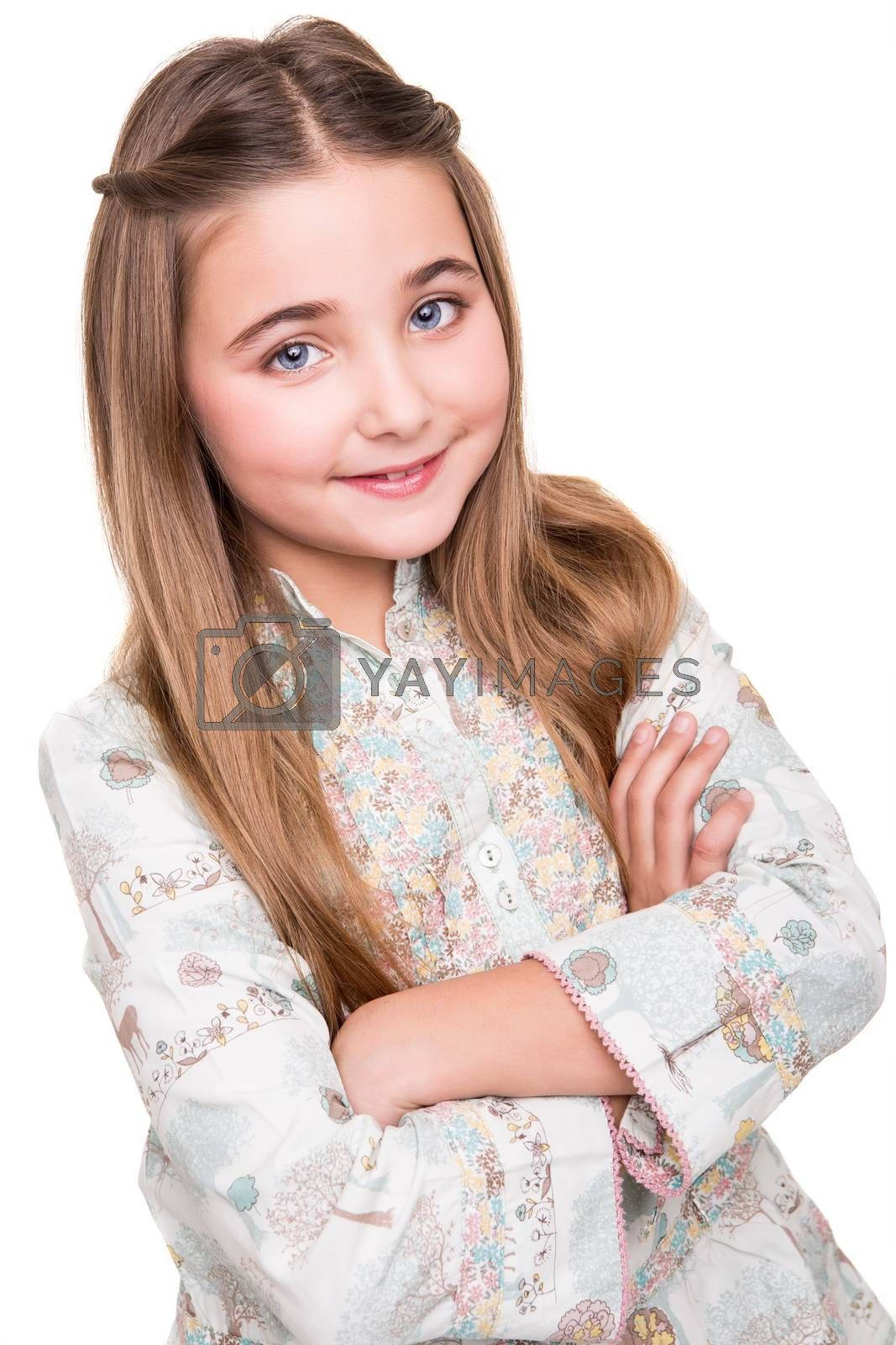Portrait of a little girl over white background