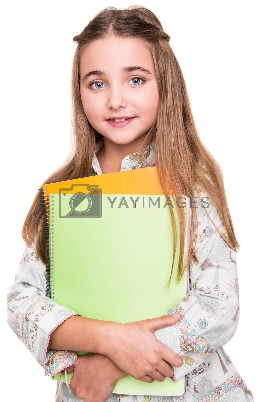 Little young student holding notebook over white background