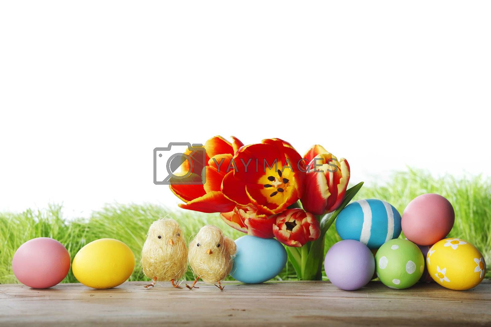 Easter decoration with tulips and colored eggs