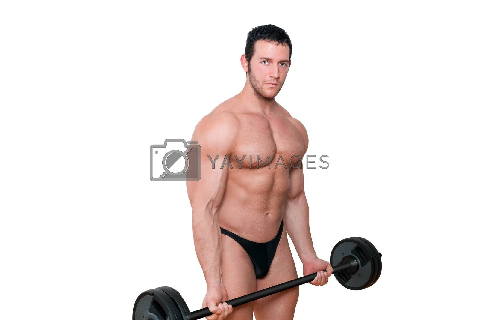 Muscular man lifting weights isolated on white background. Health and fitness.