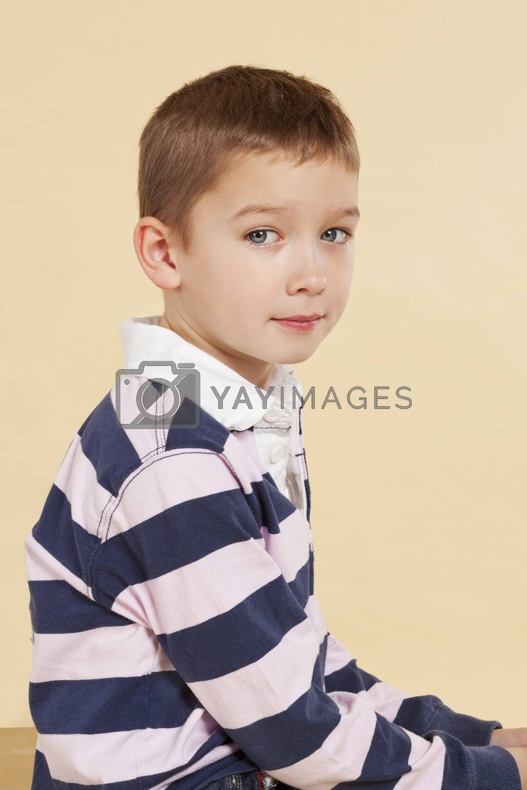 Young boy sitting and looking into camera isolated. by eskymaks
